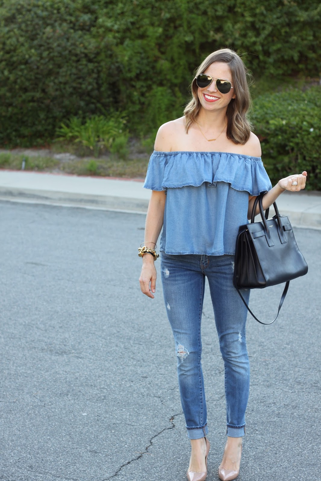 denim ruffle off the shoulder