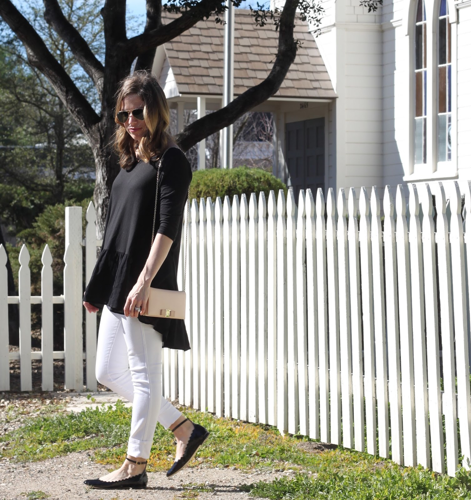 chloe flats and white jeans