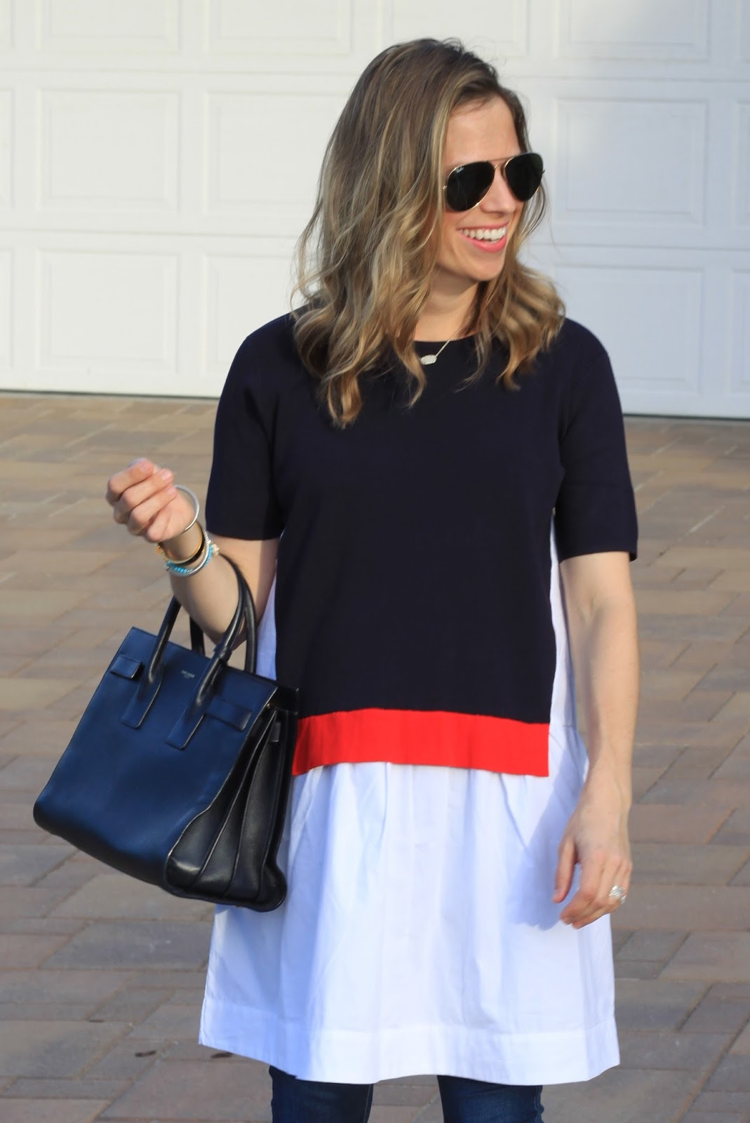 navy and white layered tee