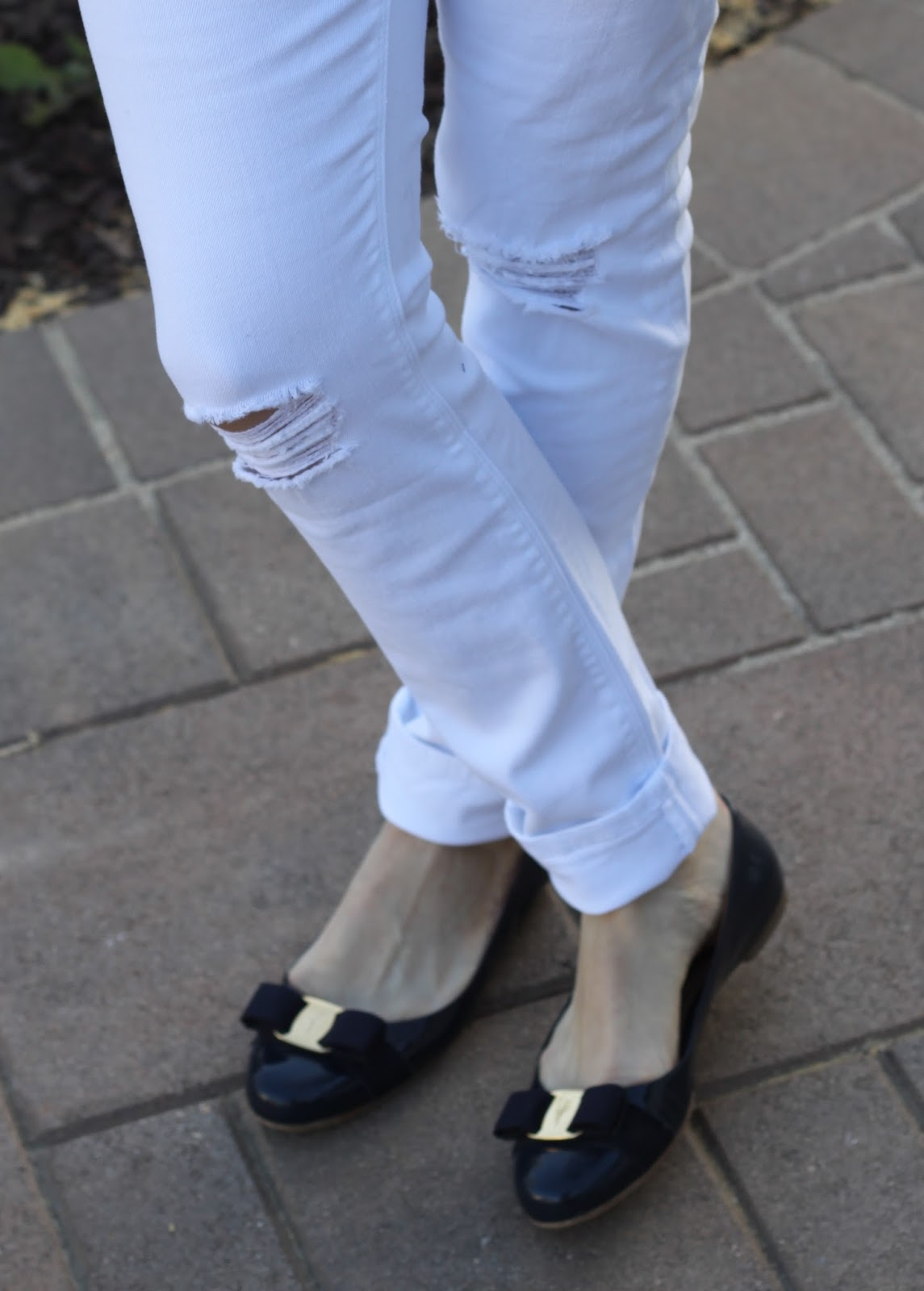 maternity distressed white jeans