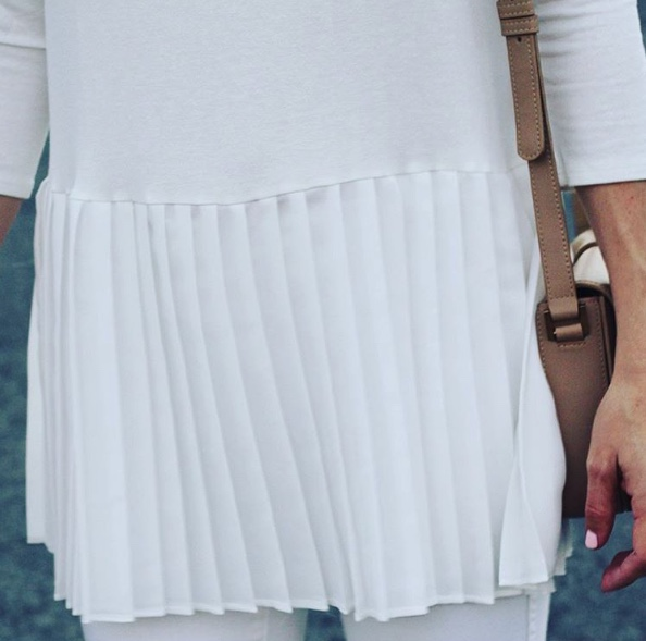 white pleated top