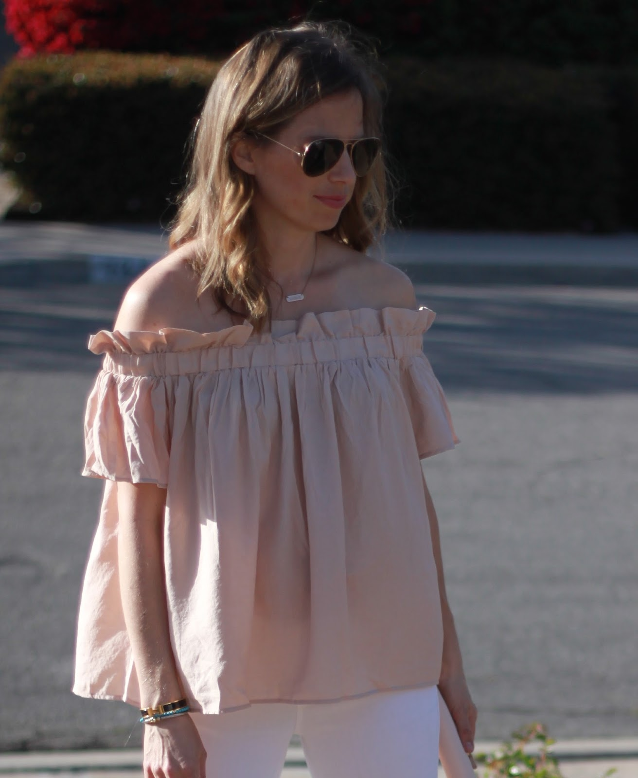 off the shoulder and ray bans