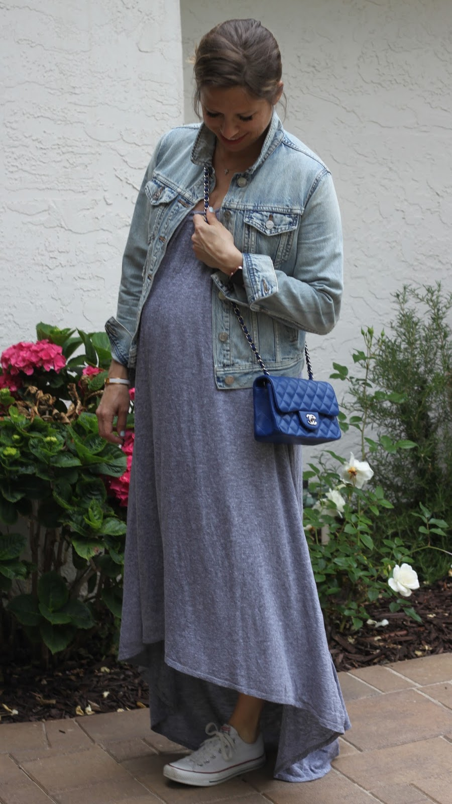 gray maxi dress and denim jacket