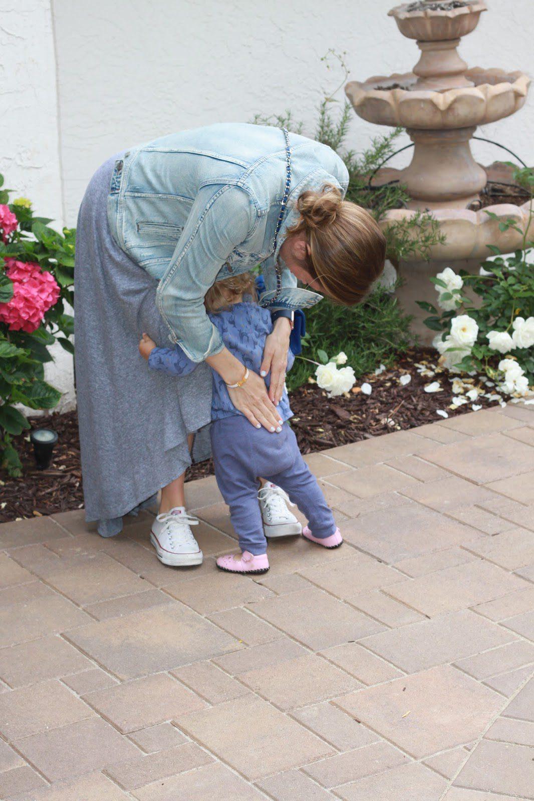 maternity maxi dress and denim jacket