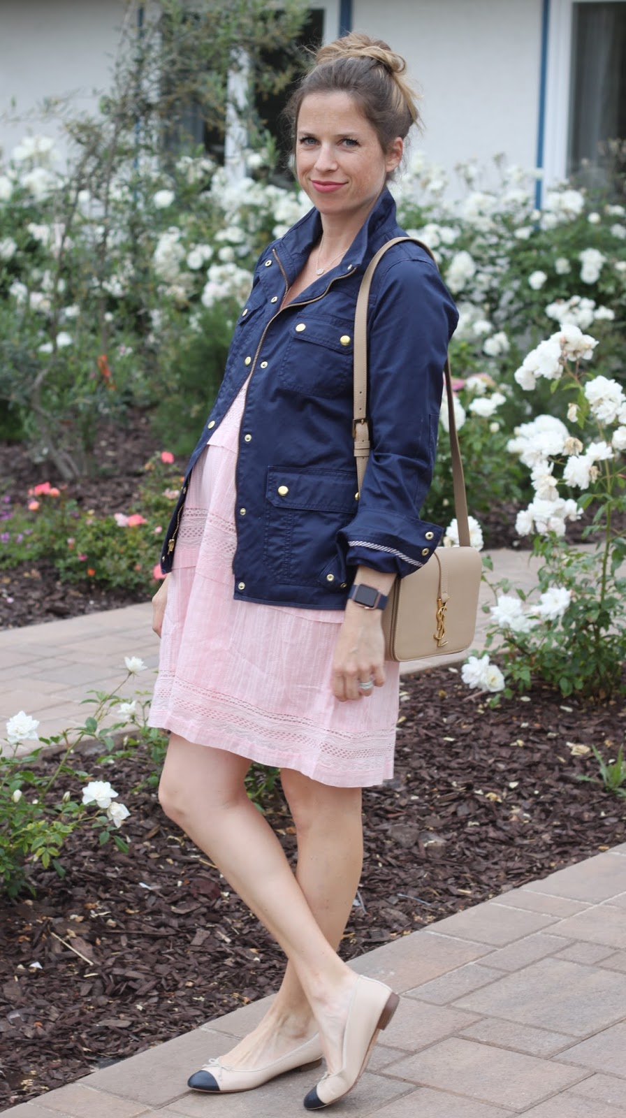 navy and pink maternity outfit