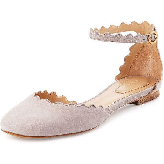 chloe scalloped ankle strap flat