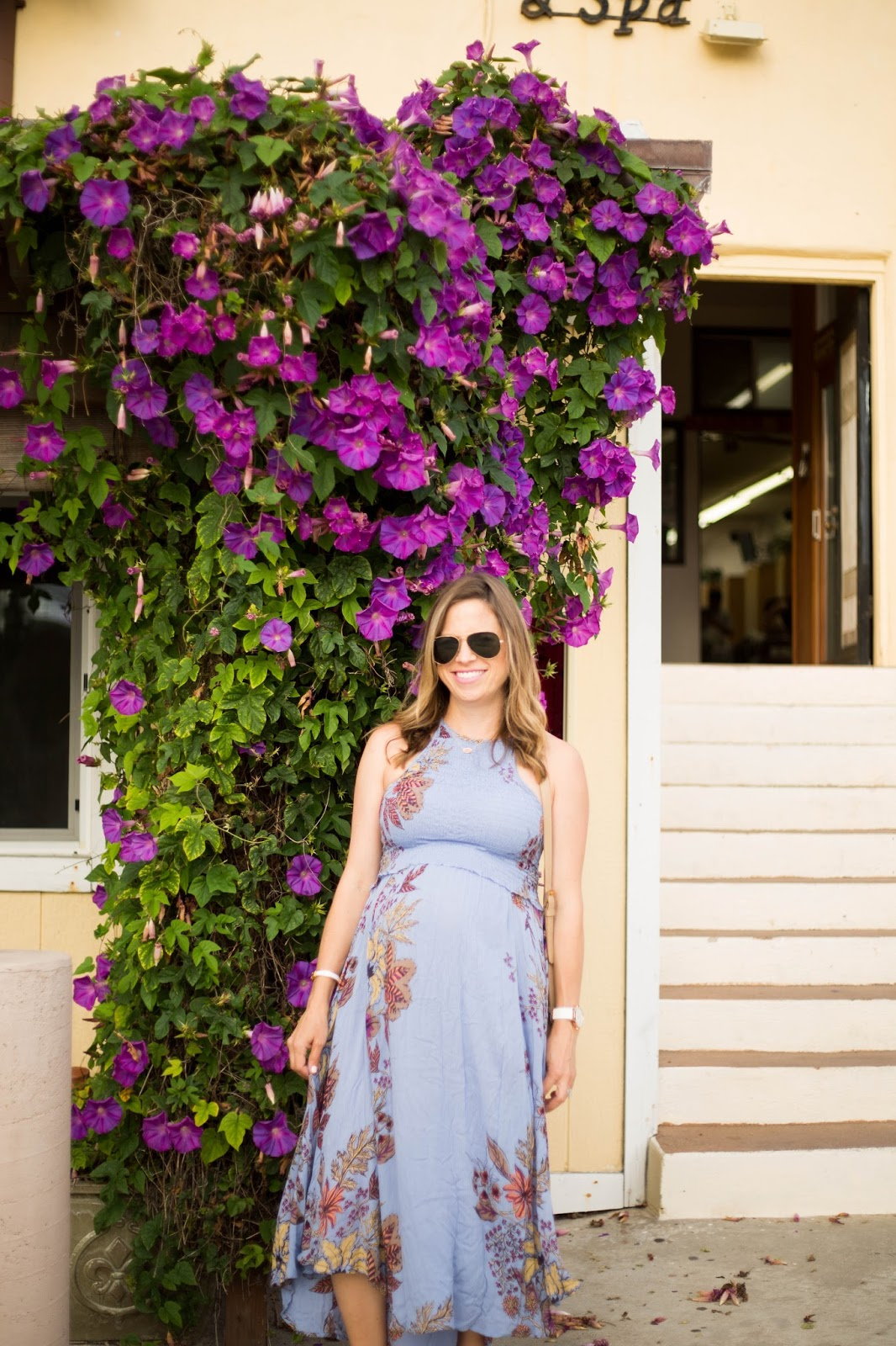 blue maternity sundress