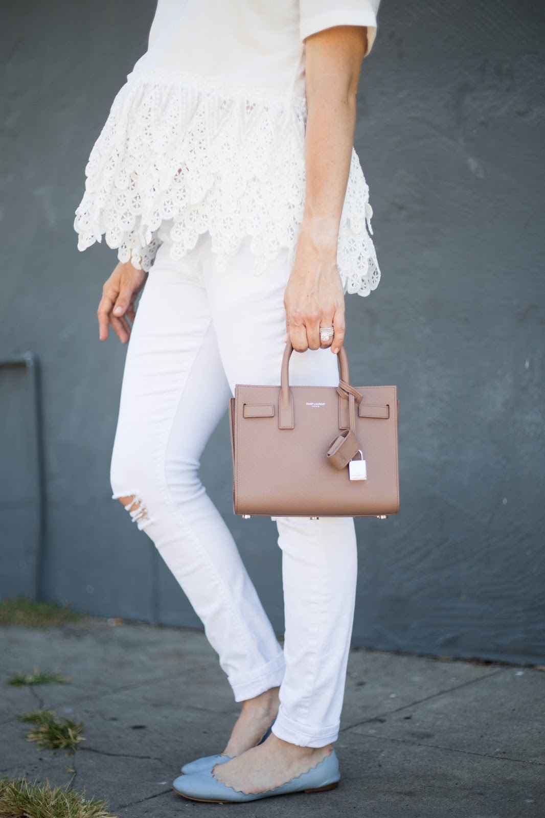 white and pastel outfit
