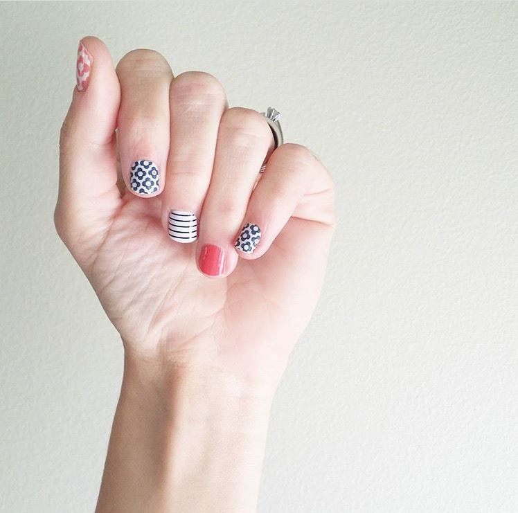 navy floral nail decal