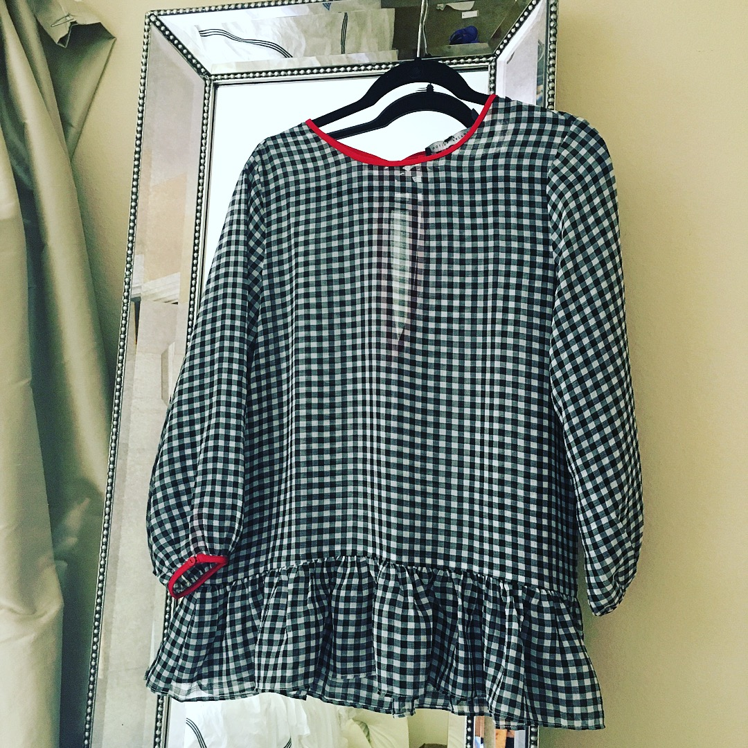 buffalo check ruffle top