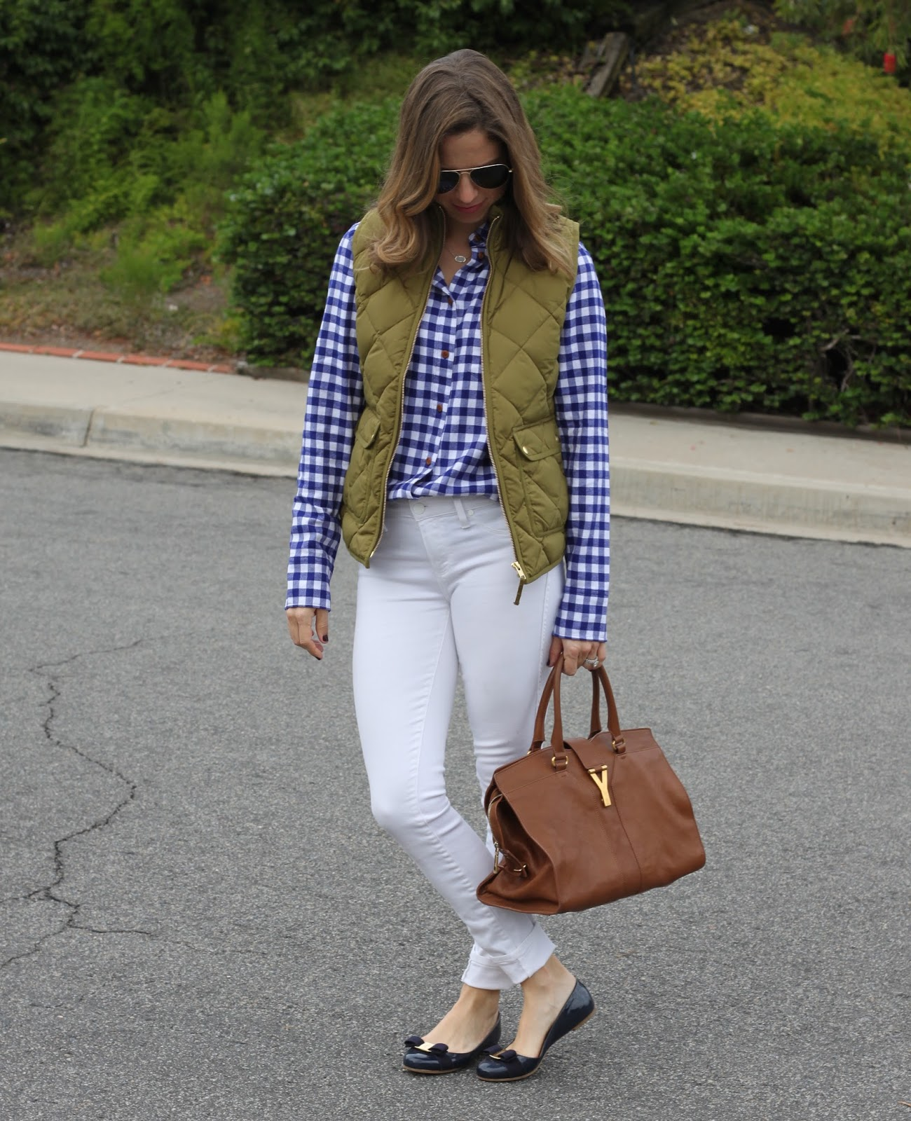 gingham shirt and vest