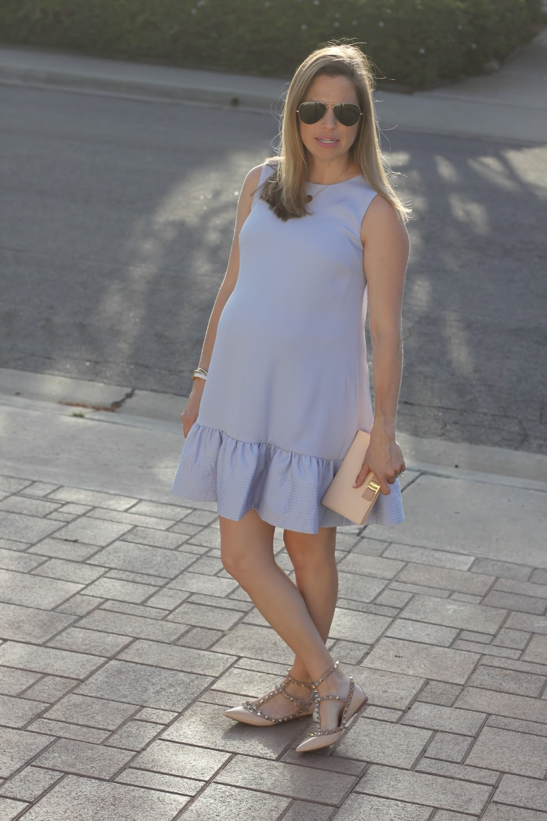 baby blue ruffle maternity dress