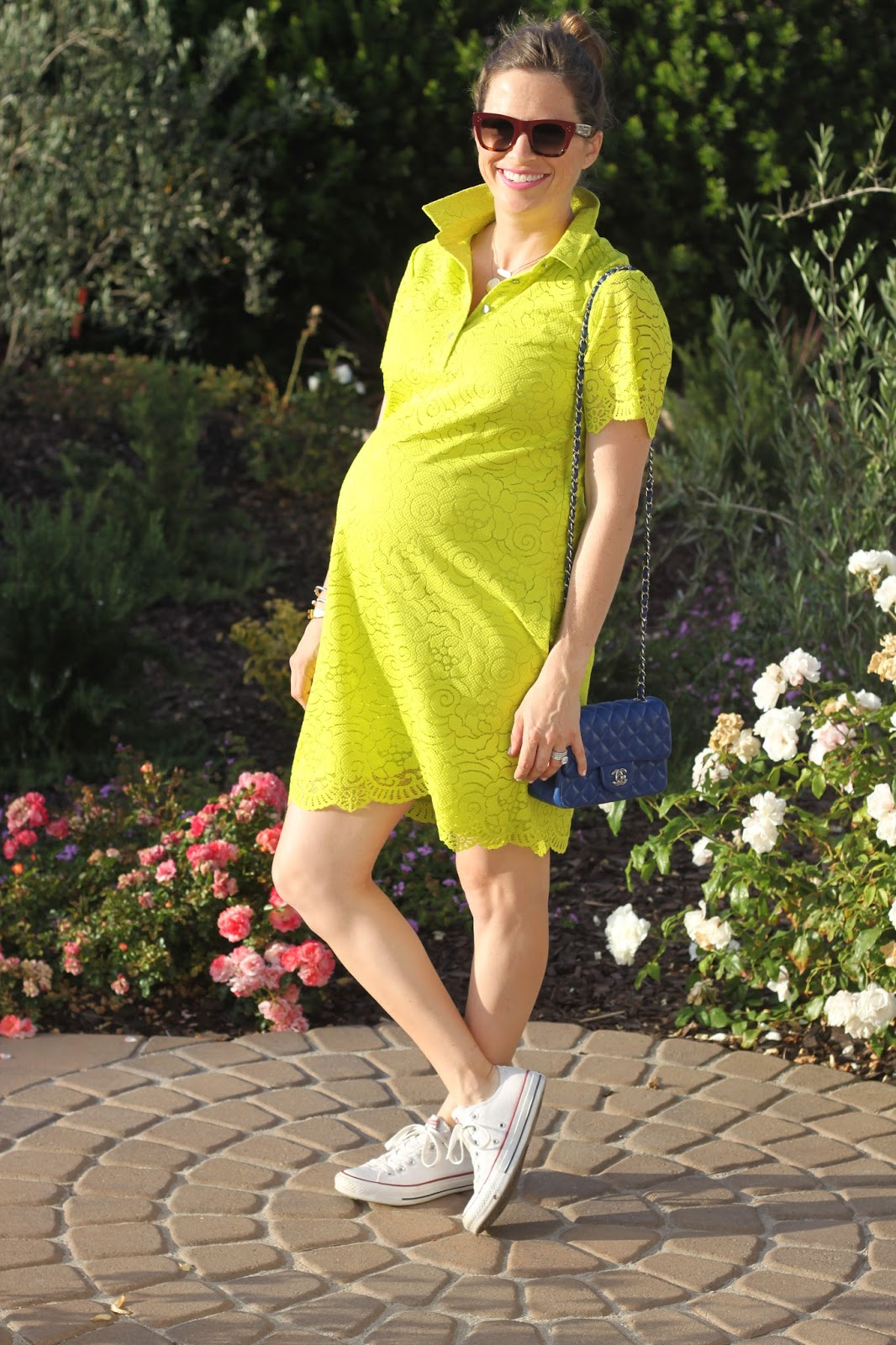 maternity neon lace dress