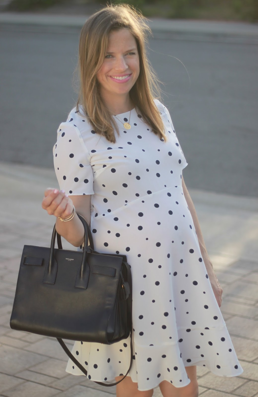 maternity polka dot dress