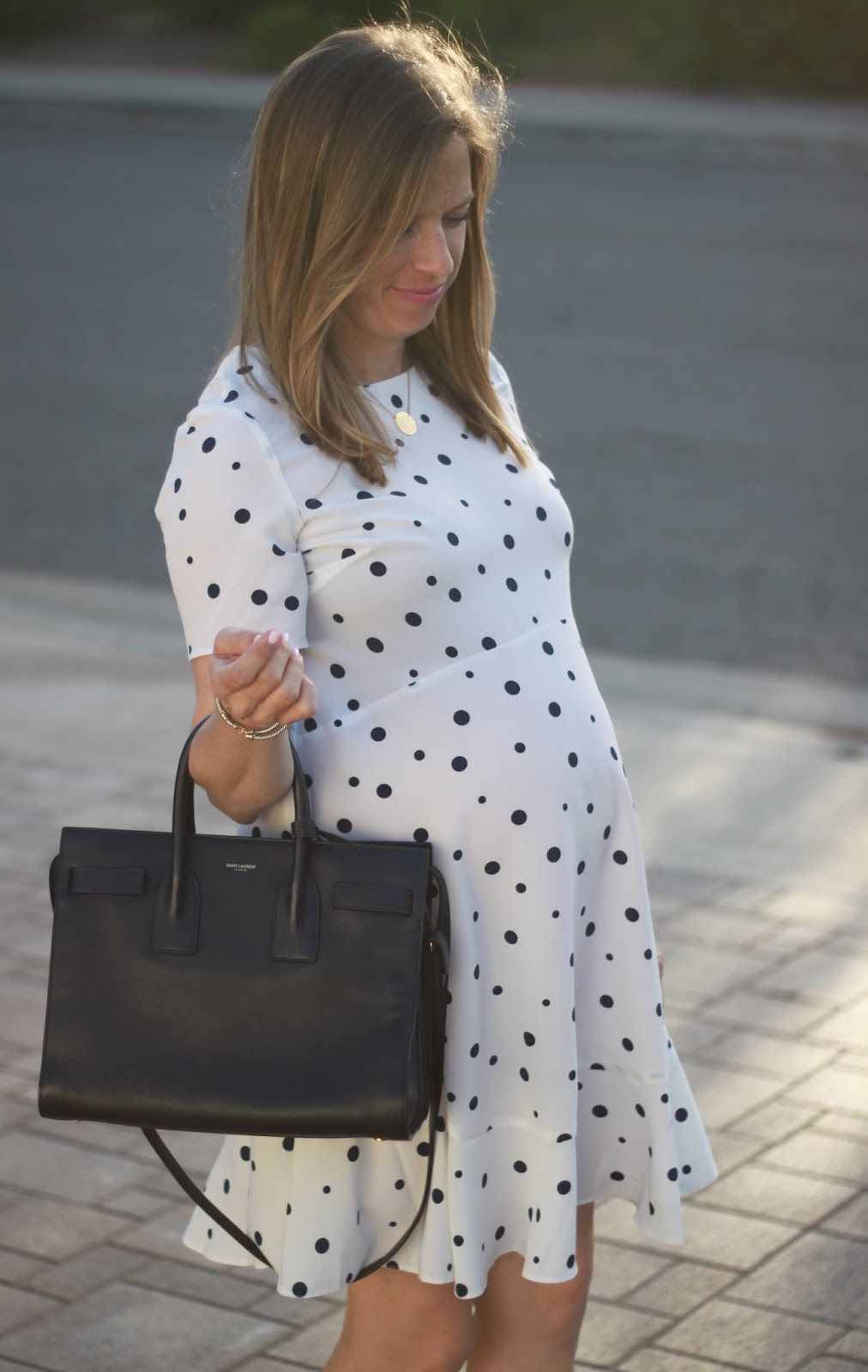 navy saint laurent and maternity dress