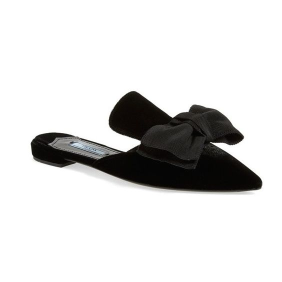 backless pointy toe bow flats