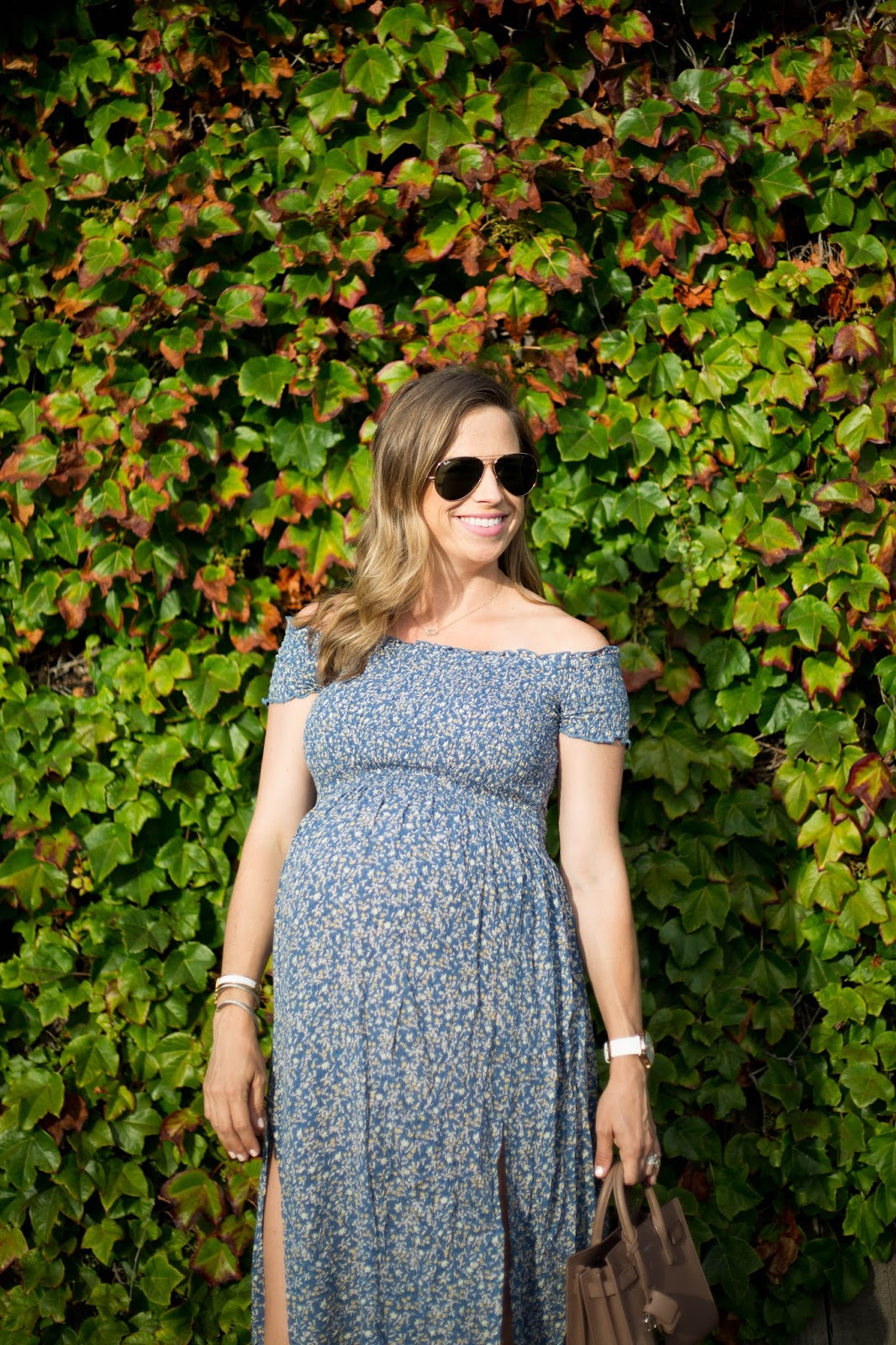 smocked maternity dress
