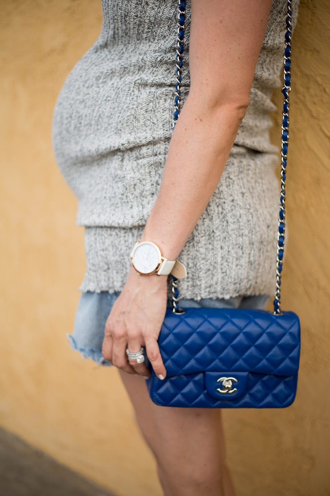 blue quilted chanel bag street style