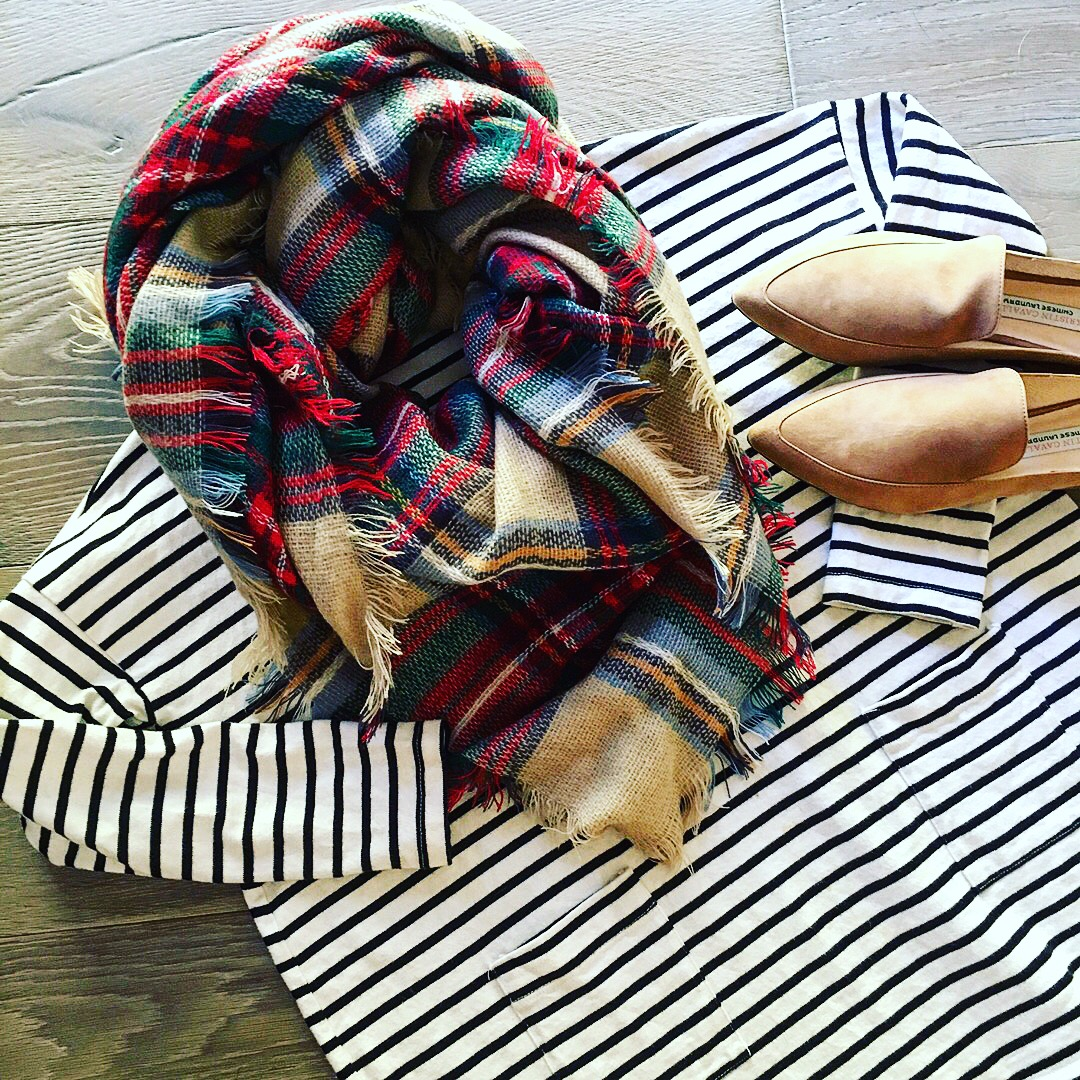 plaid blanket scarf and stripes