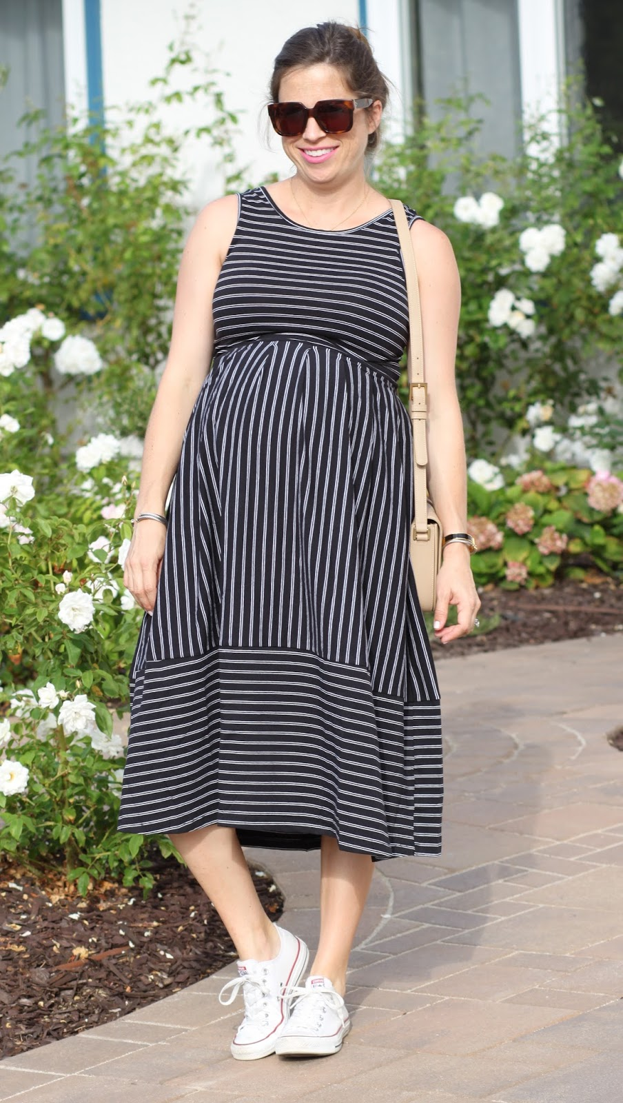 midi black maternity dress