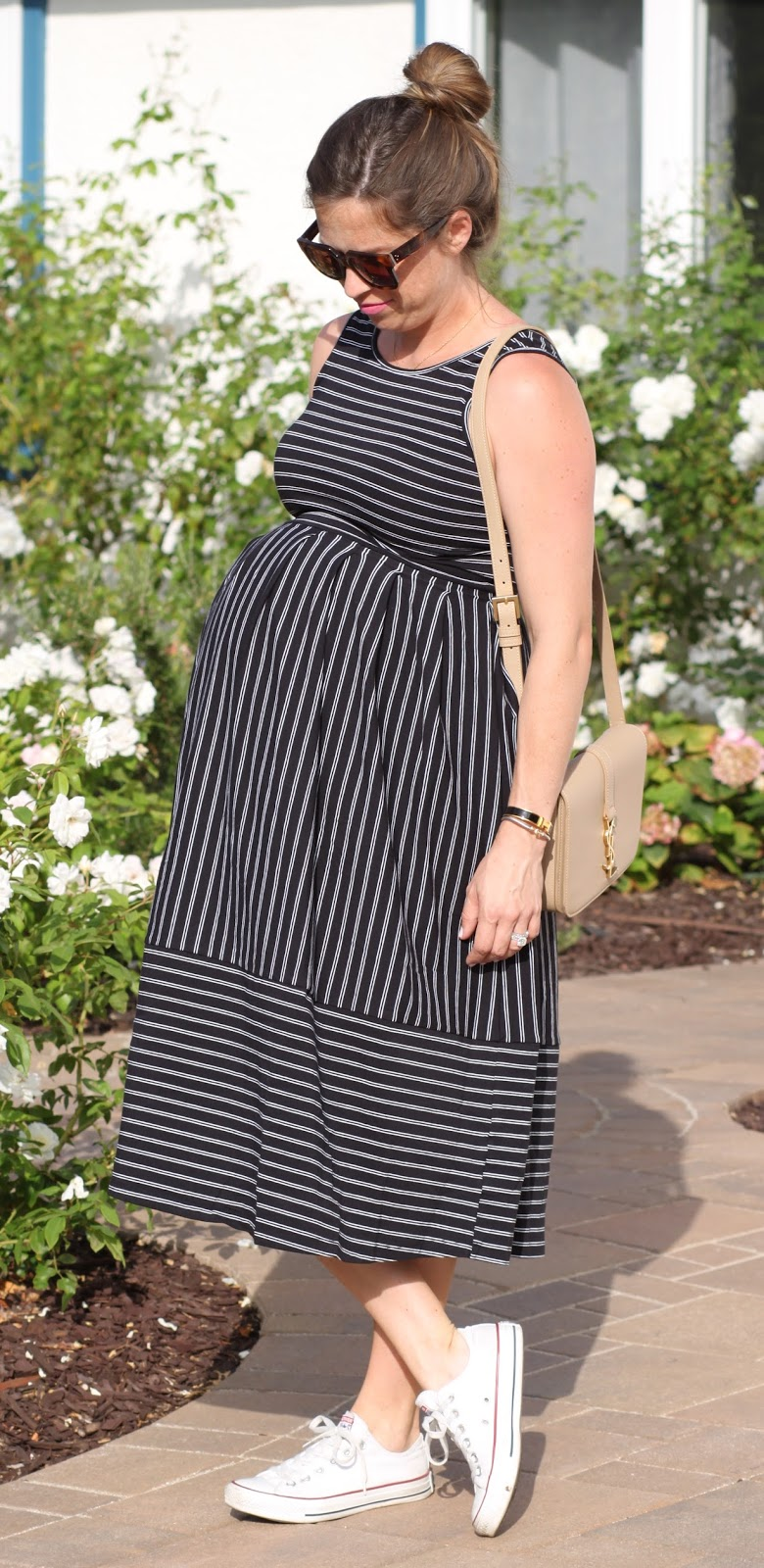 maternity pinstripe dress