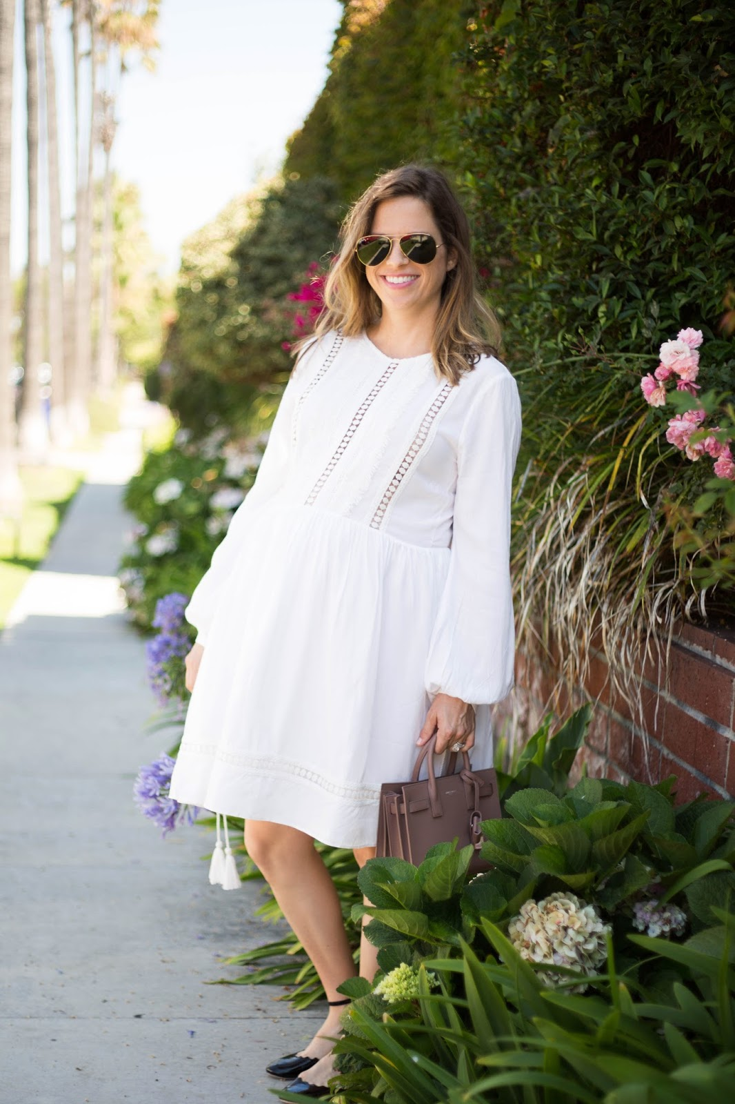 white lace maternity dress