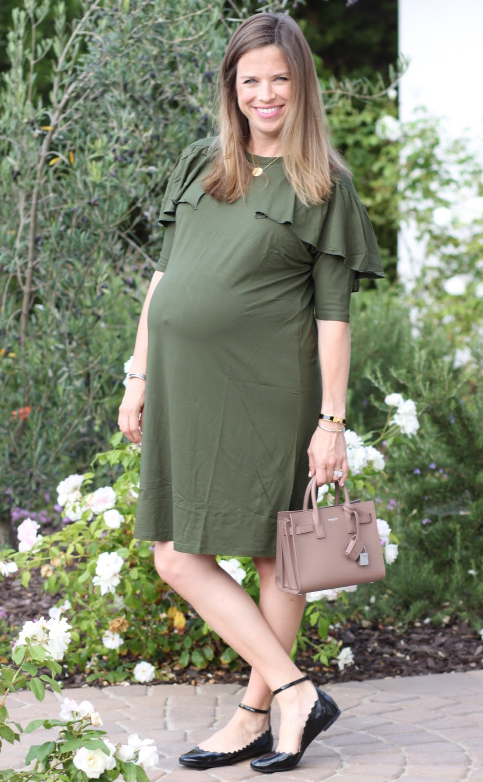 maternity ruffle dress