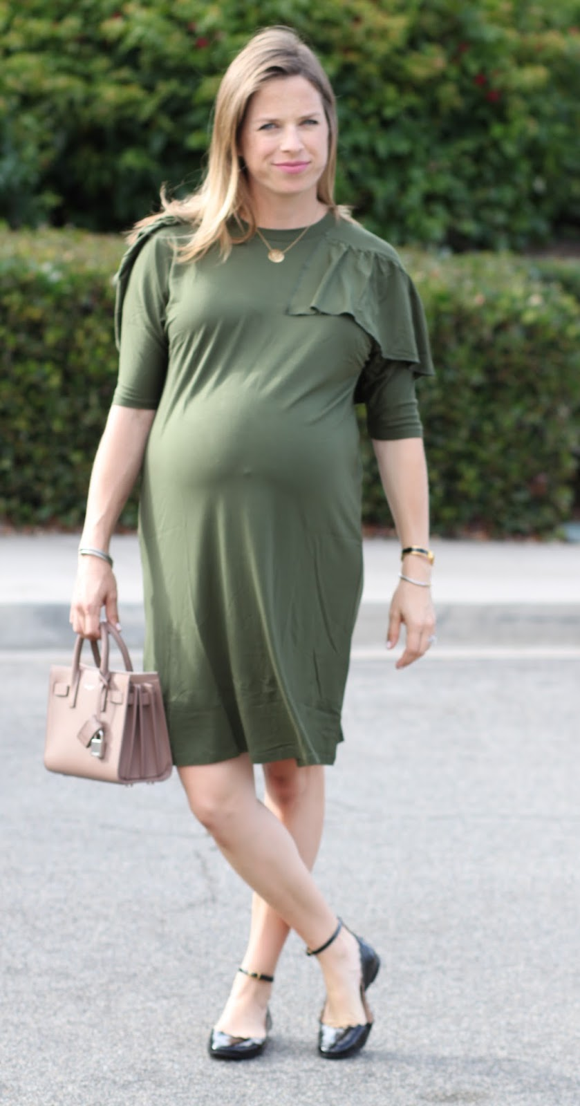 olive green maternity dress