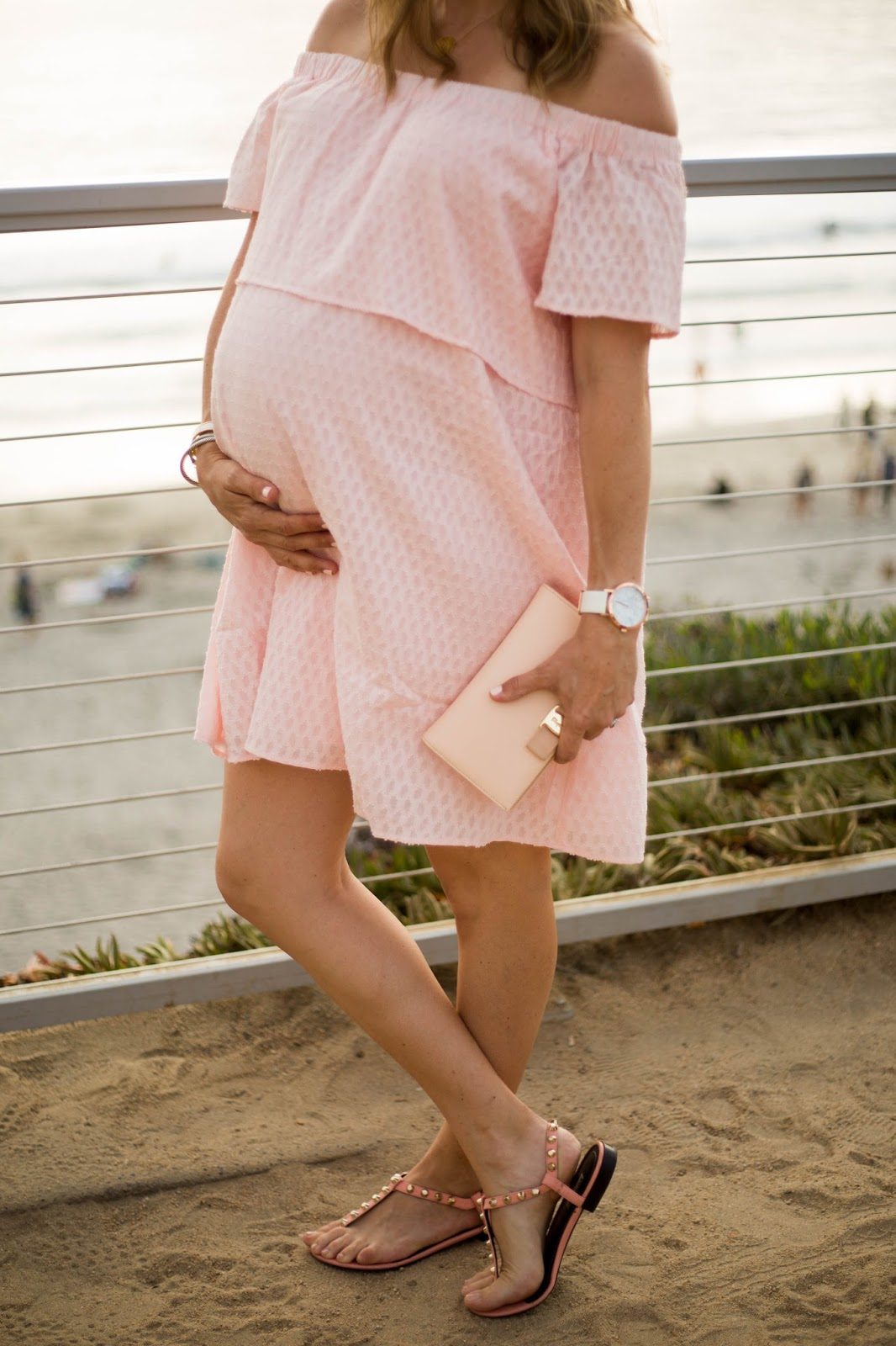 maternity pink off the shoulder dress