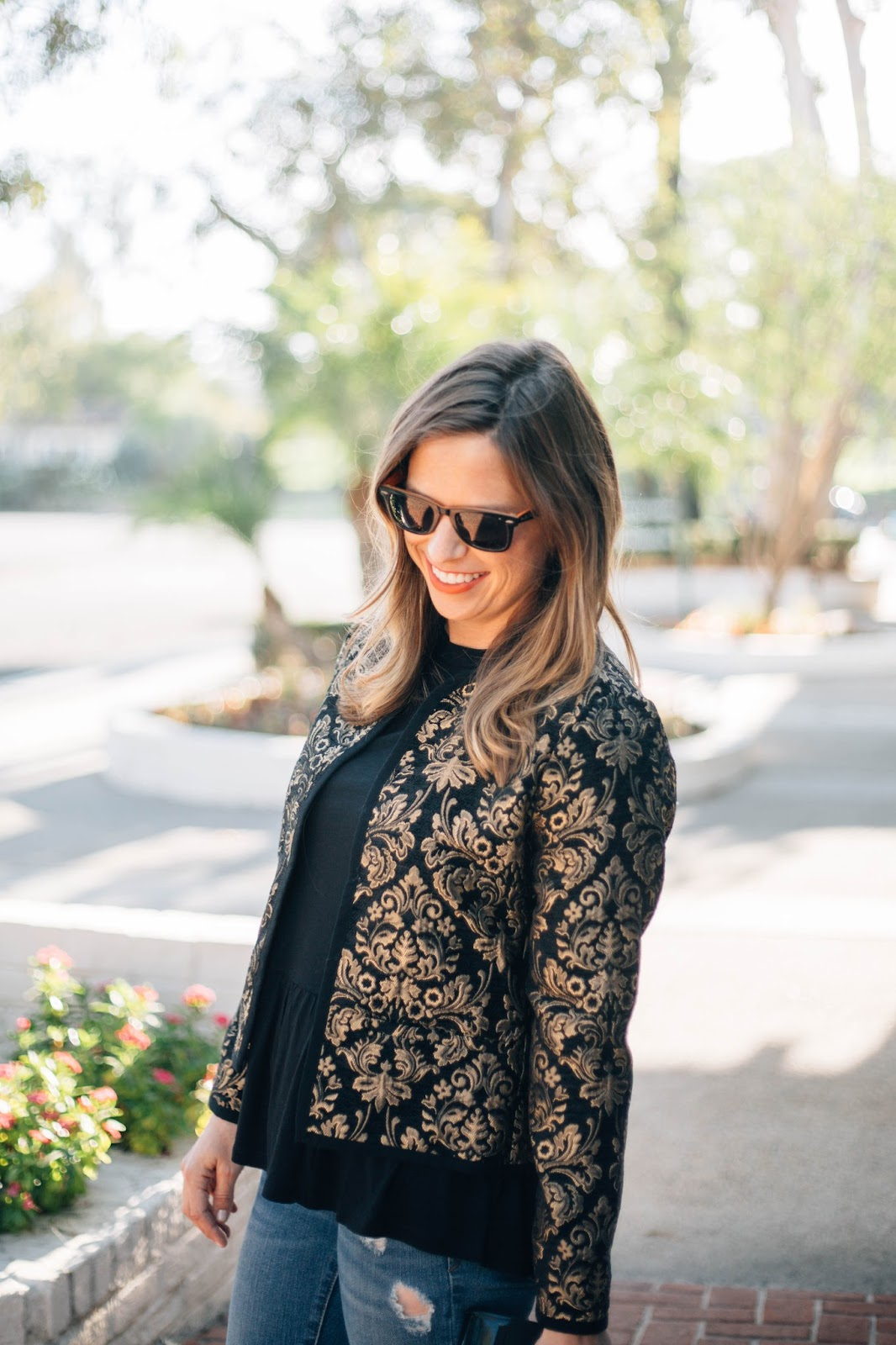 black peplum and jacket outfit