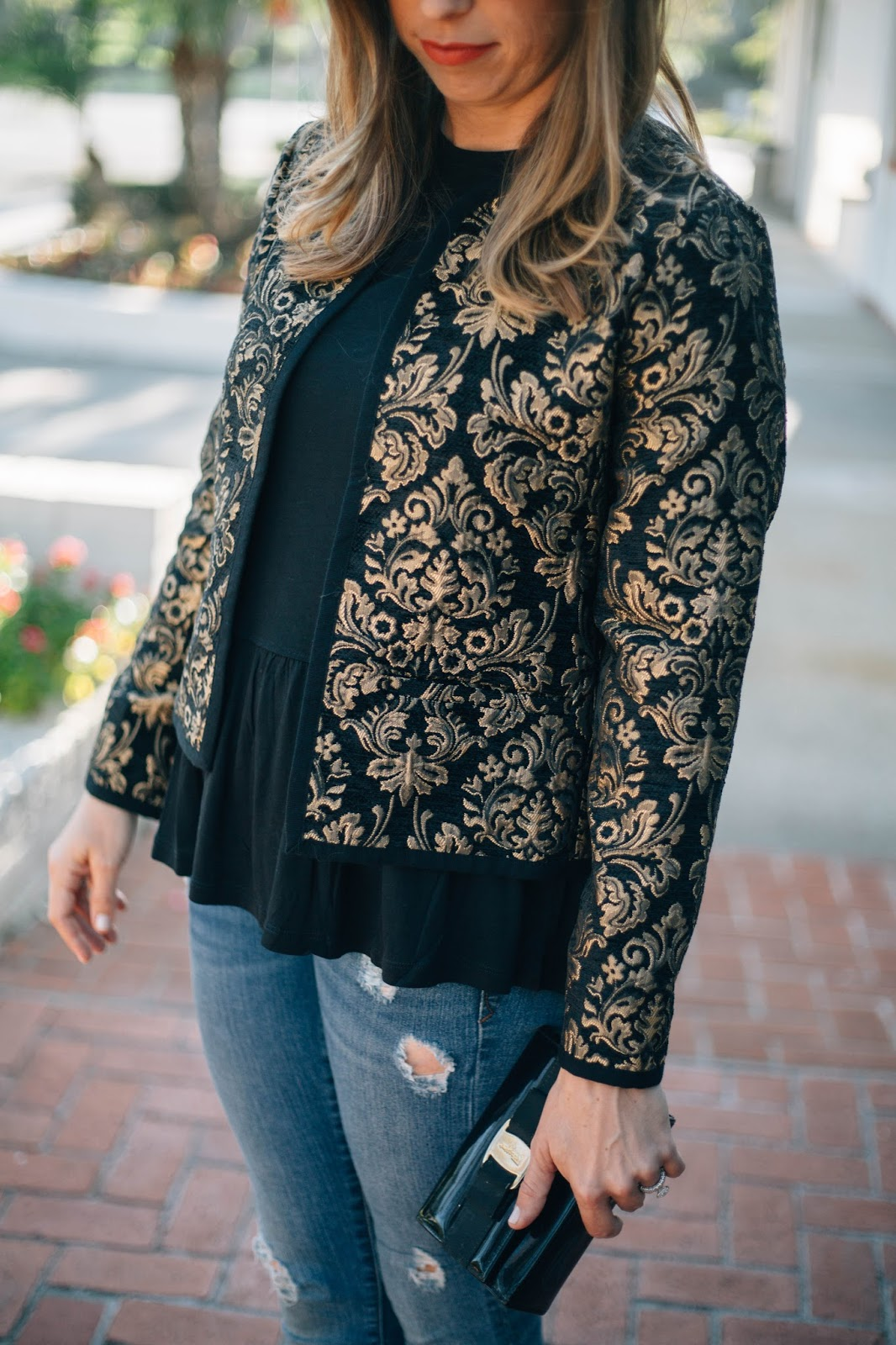 black and gold holiday outfit