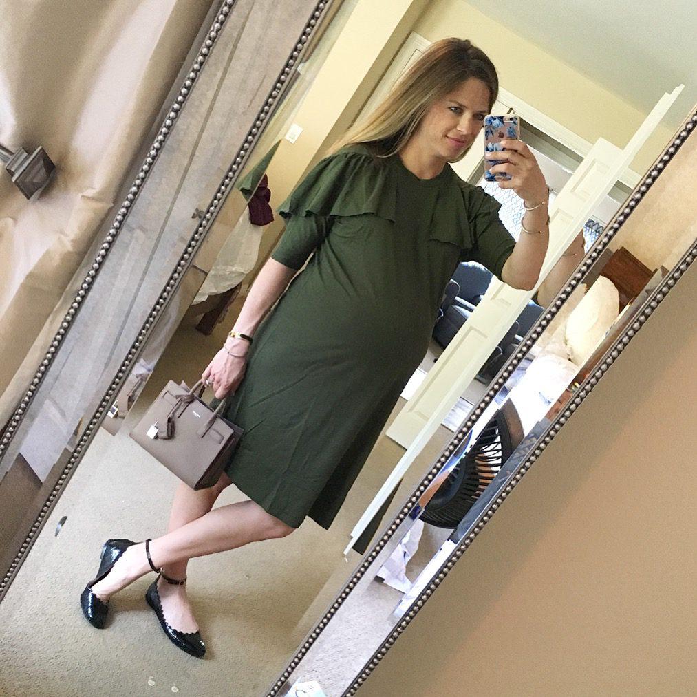 olive maternity dress