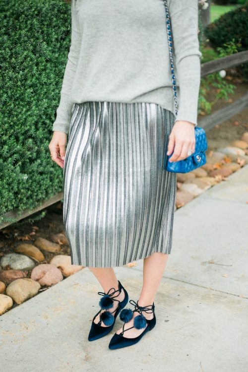 silver pleated