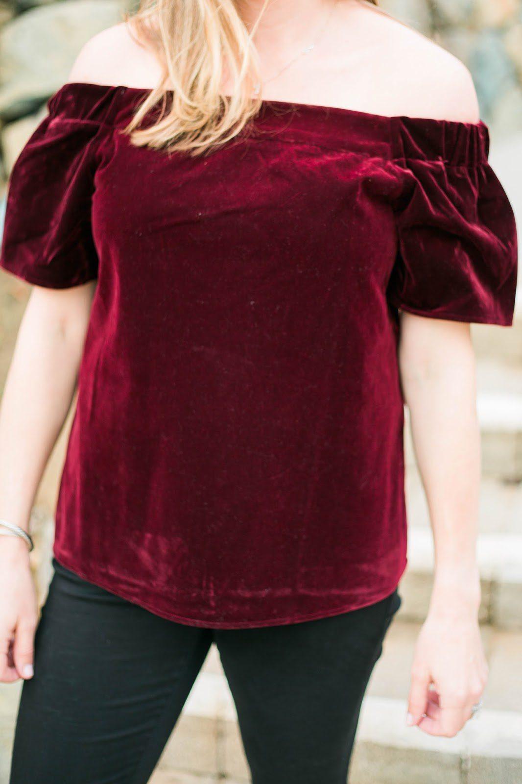 velvet off the shoulder top