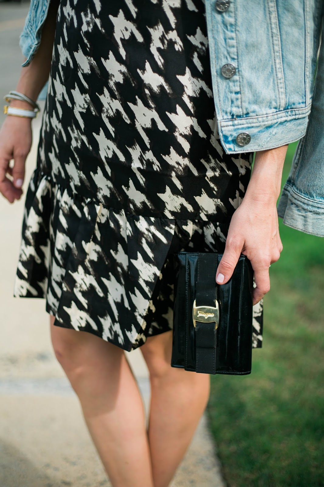 houndstooth dress black ferragamo clutch