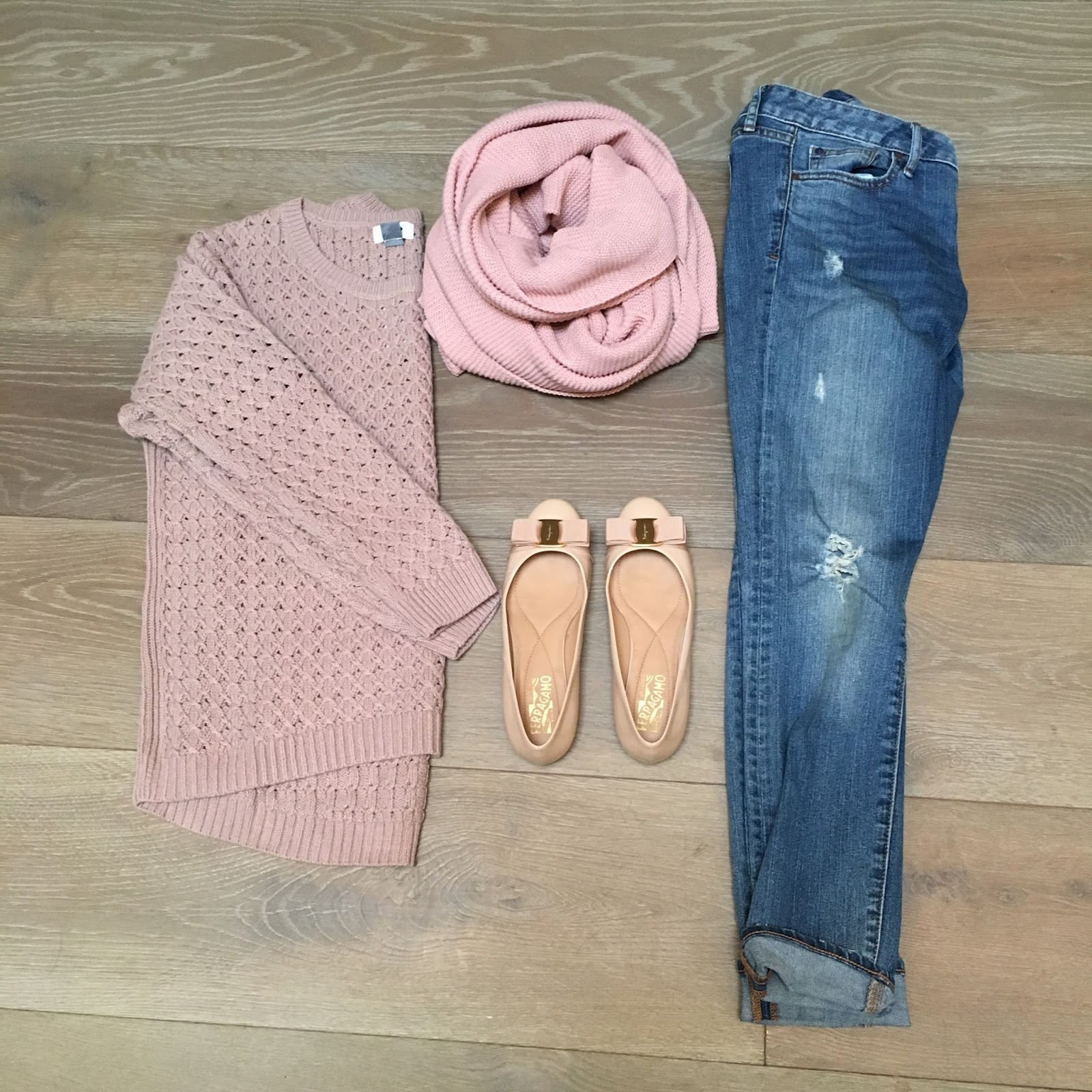 blush sweater and scarf outfit