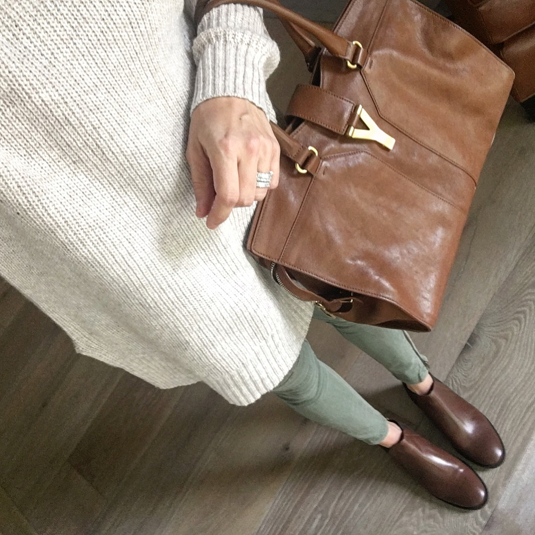 brown ysl and sweater