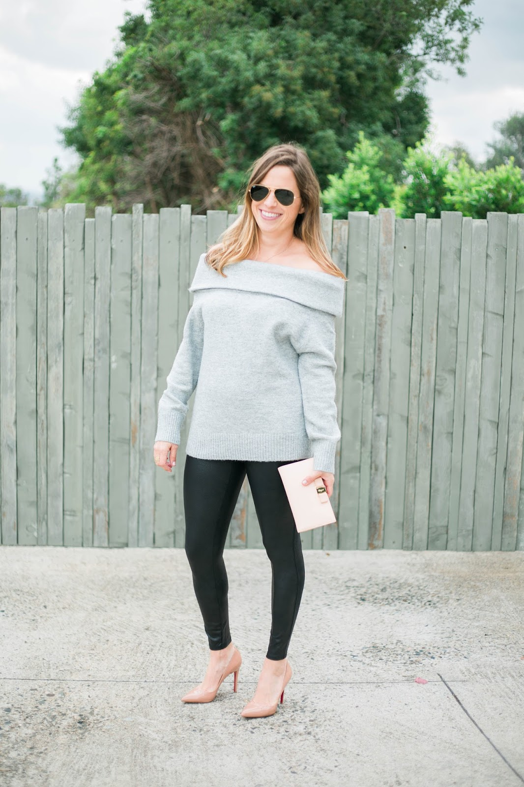sweater leather leggings and louboutins