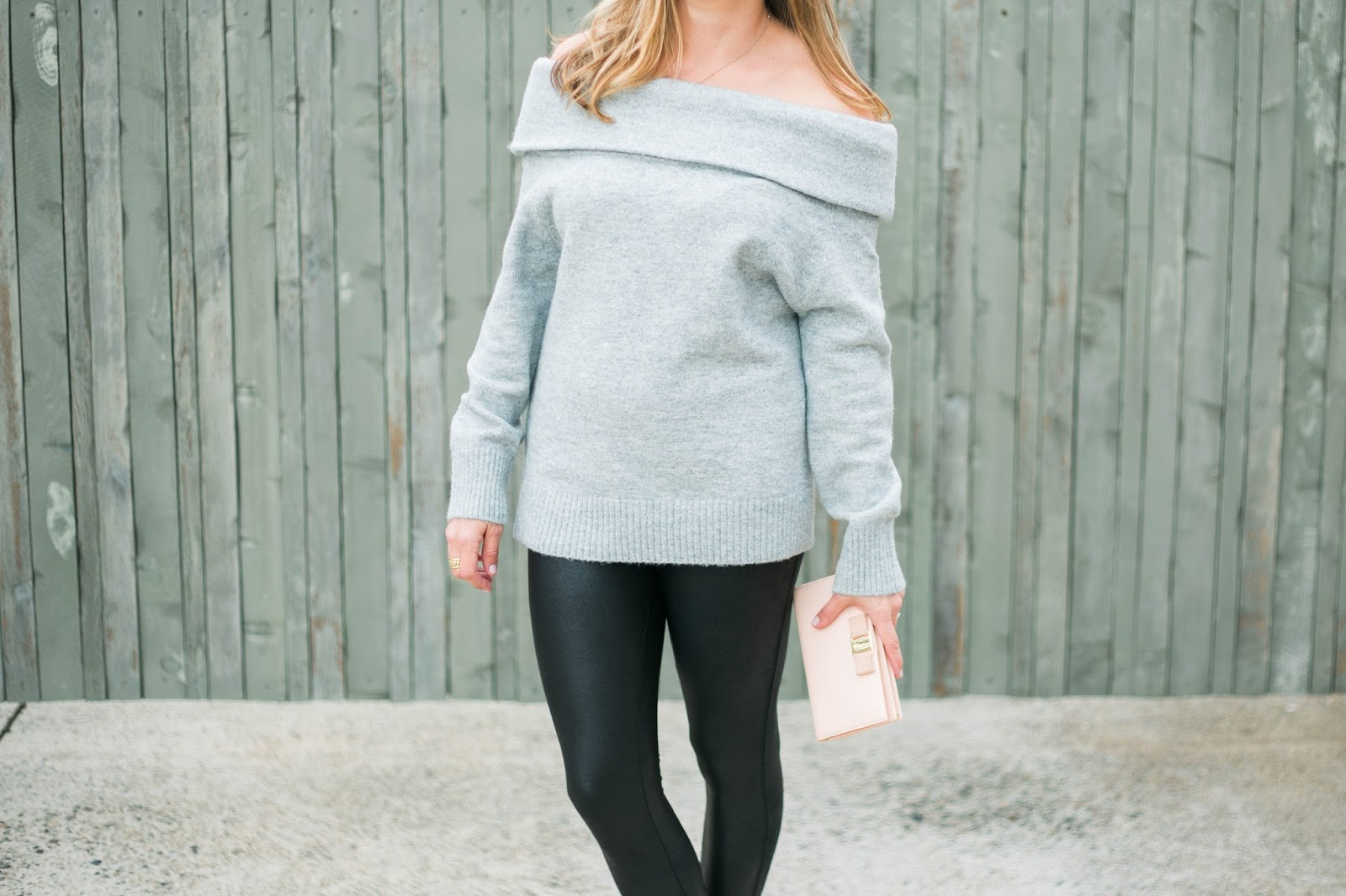 sweater and faux leather leggings