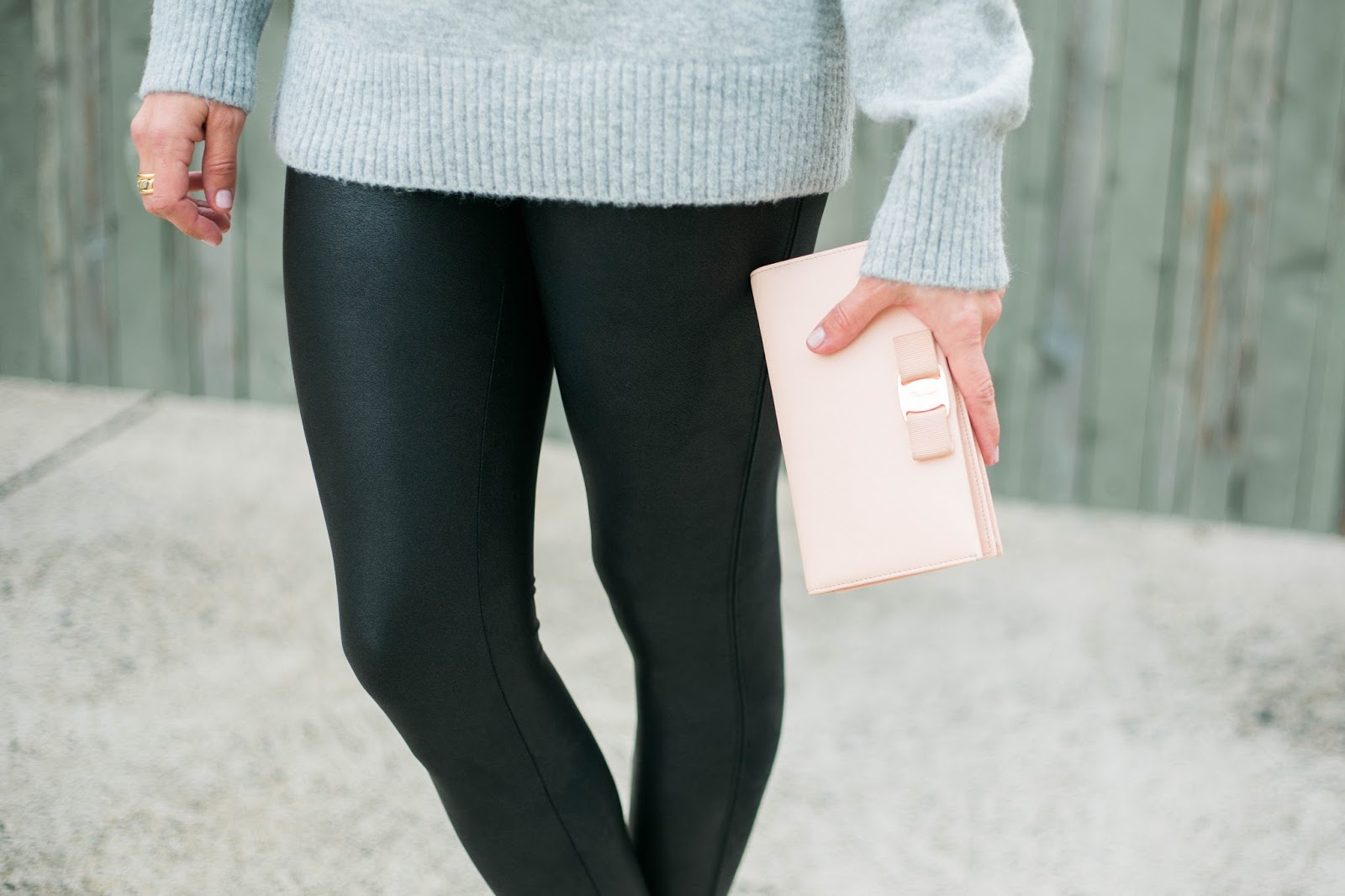 blush bow wallet and faux leather leggings