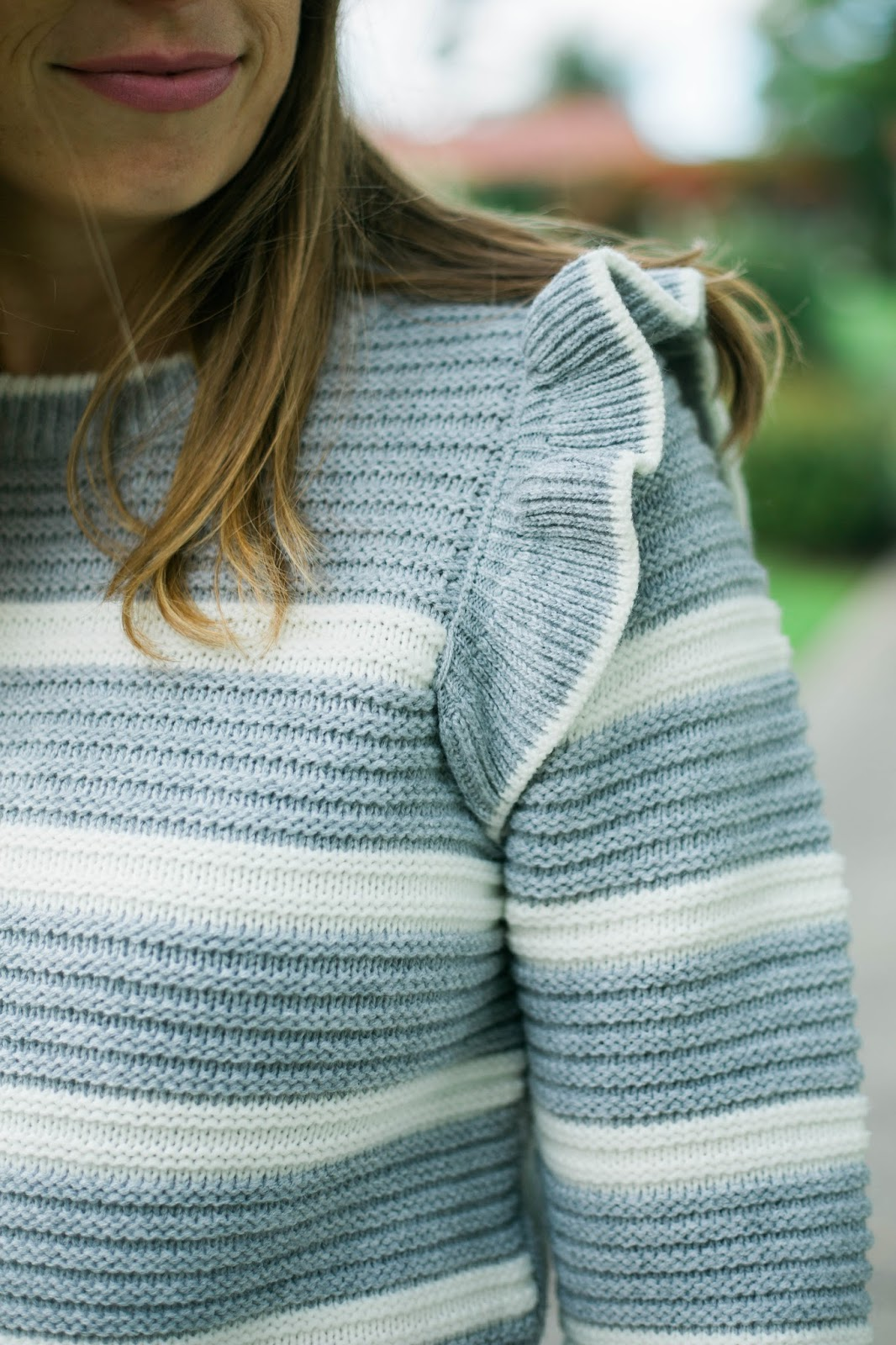 gray ruffle sweater