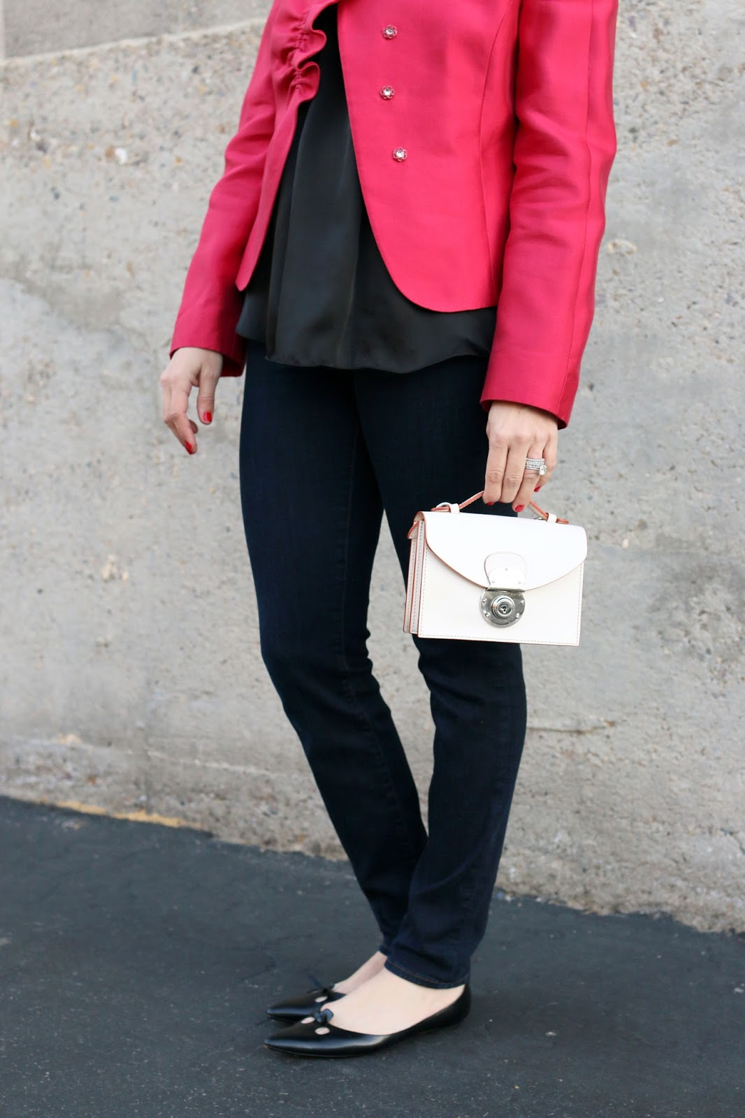 armani red jacket street style