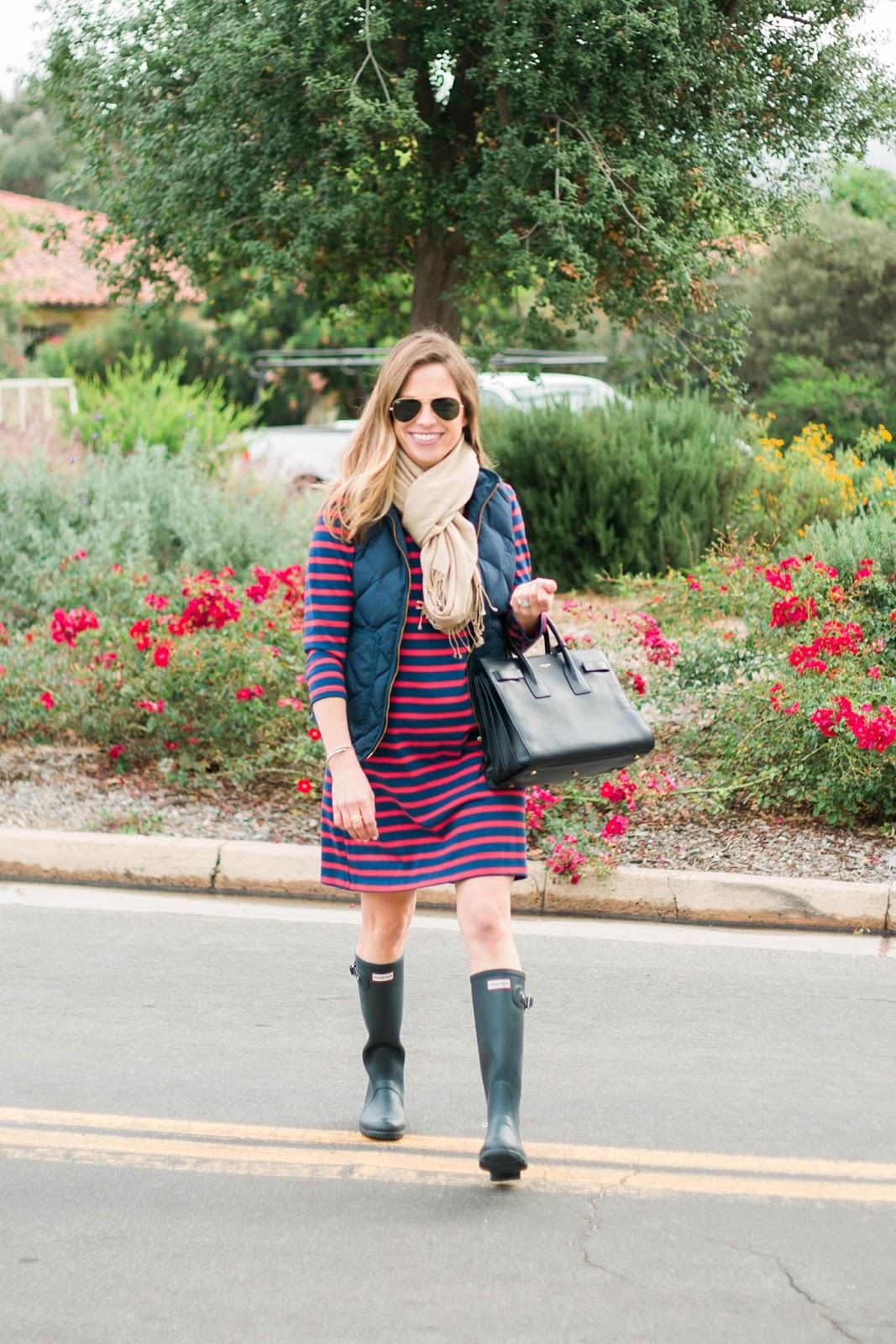 red and blue striped dress outfit