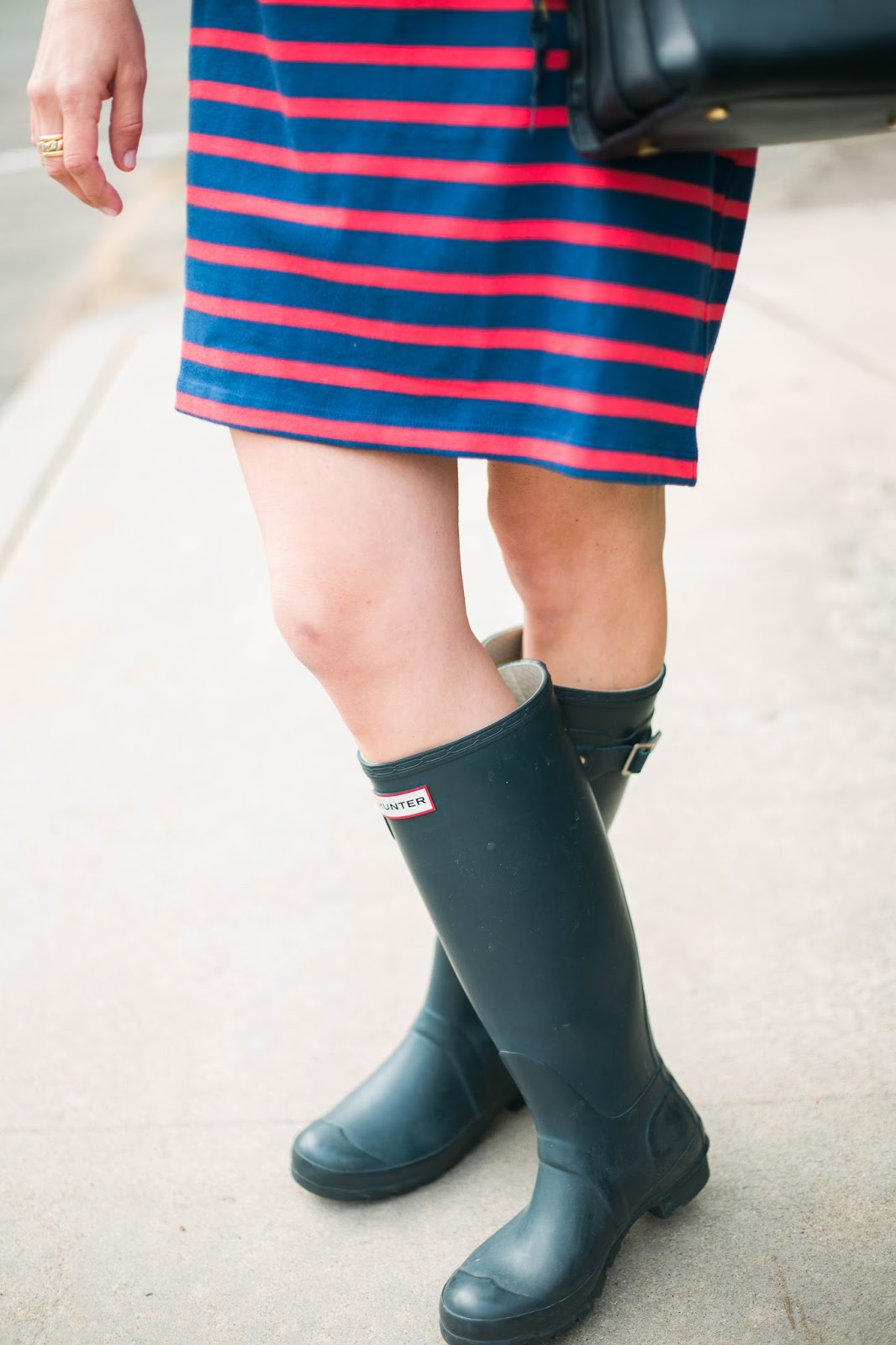 hunter boots and dress outfit