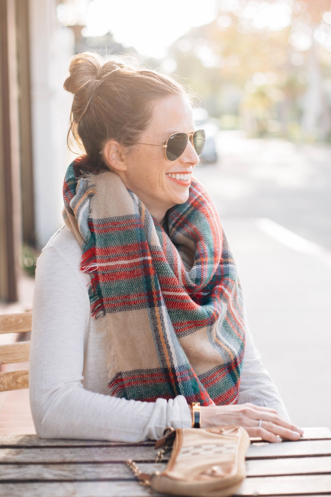 blanket scarf and ray-bans