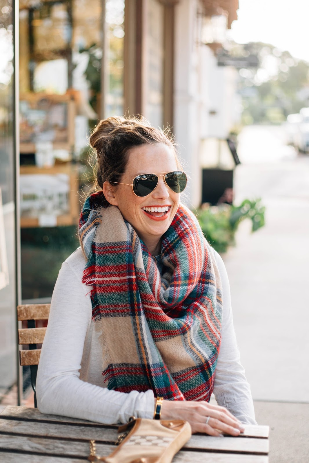 blanket scarf and gucci street style