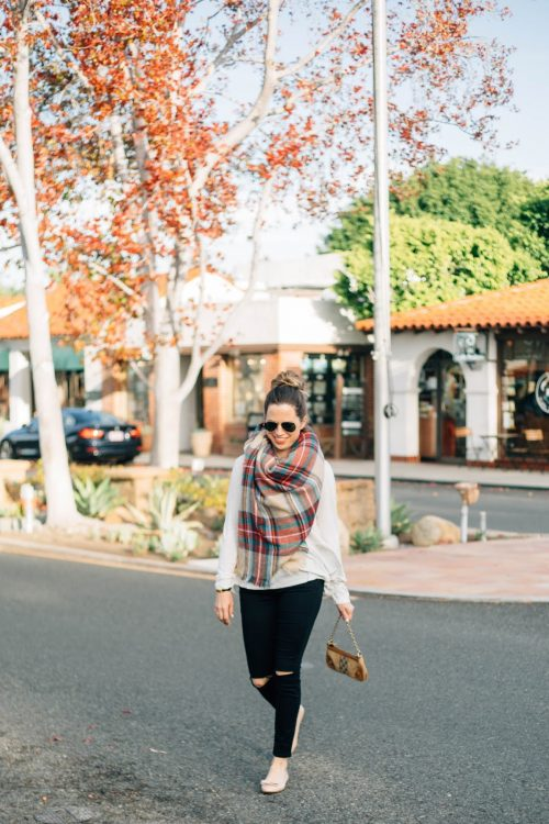 blanket scarf and peplum