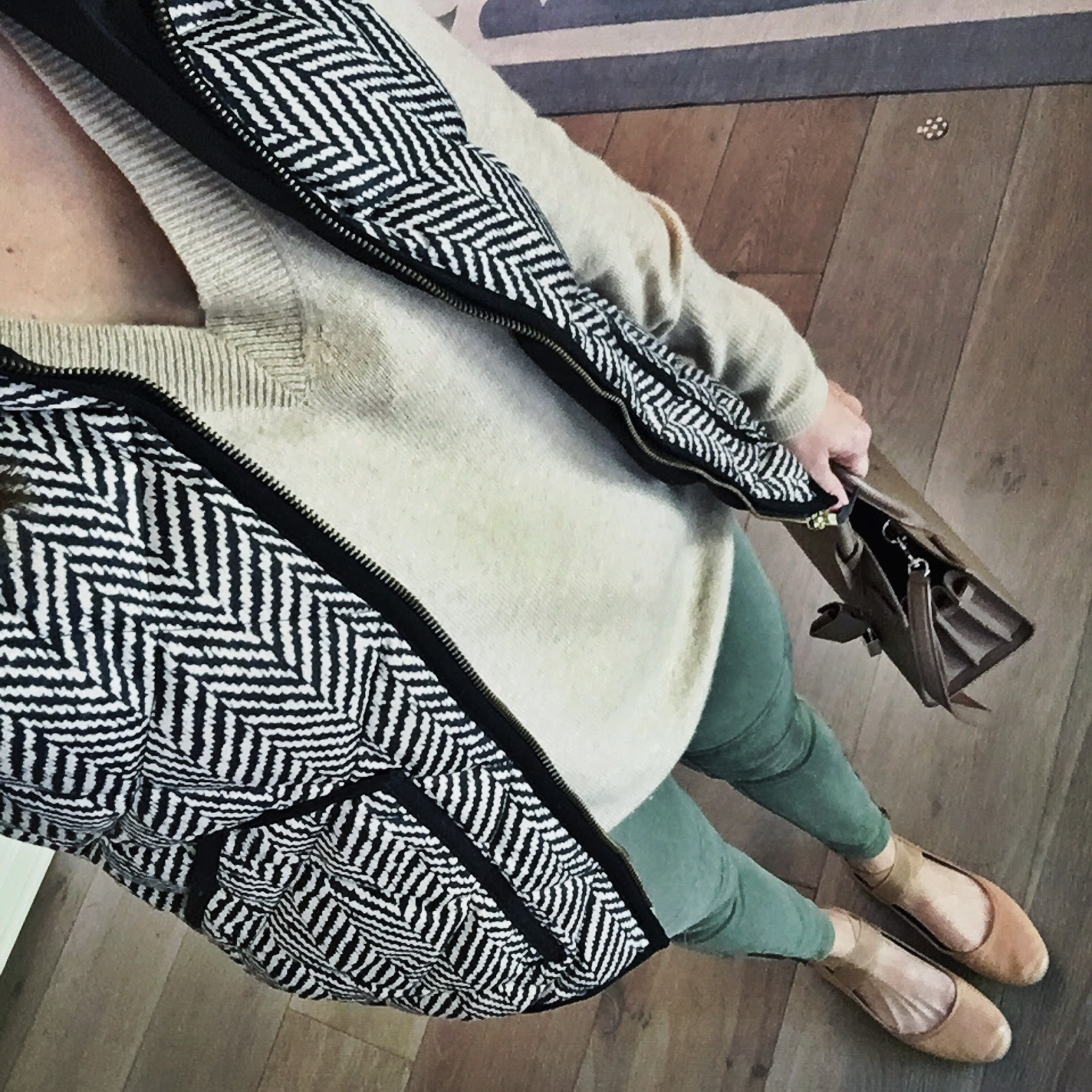 herringbone vest and moto leggings