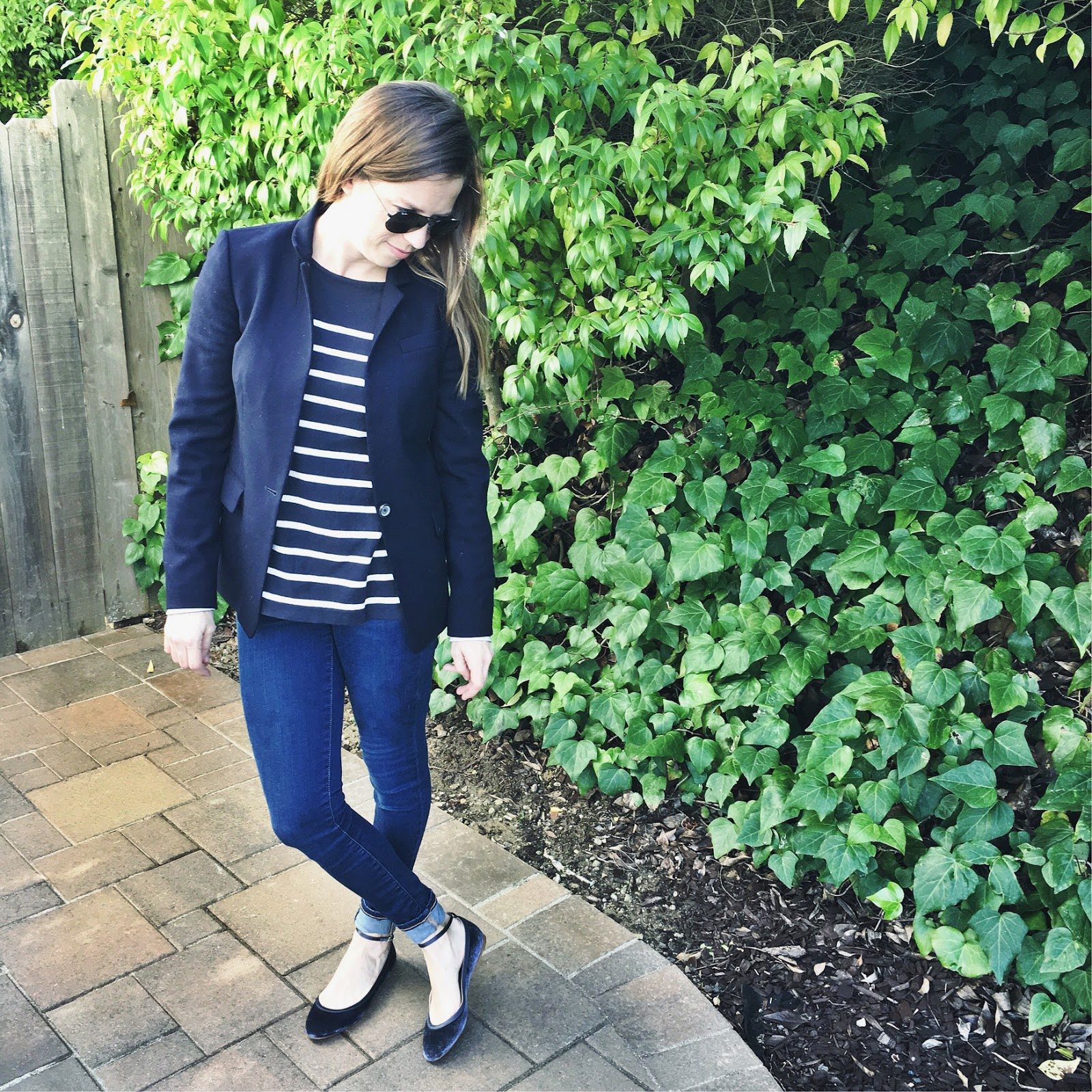 stripes and blazer street style