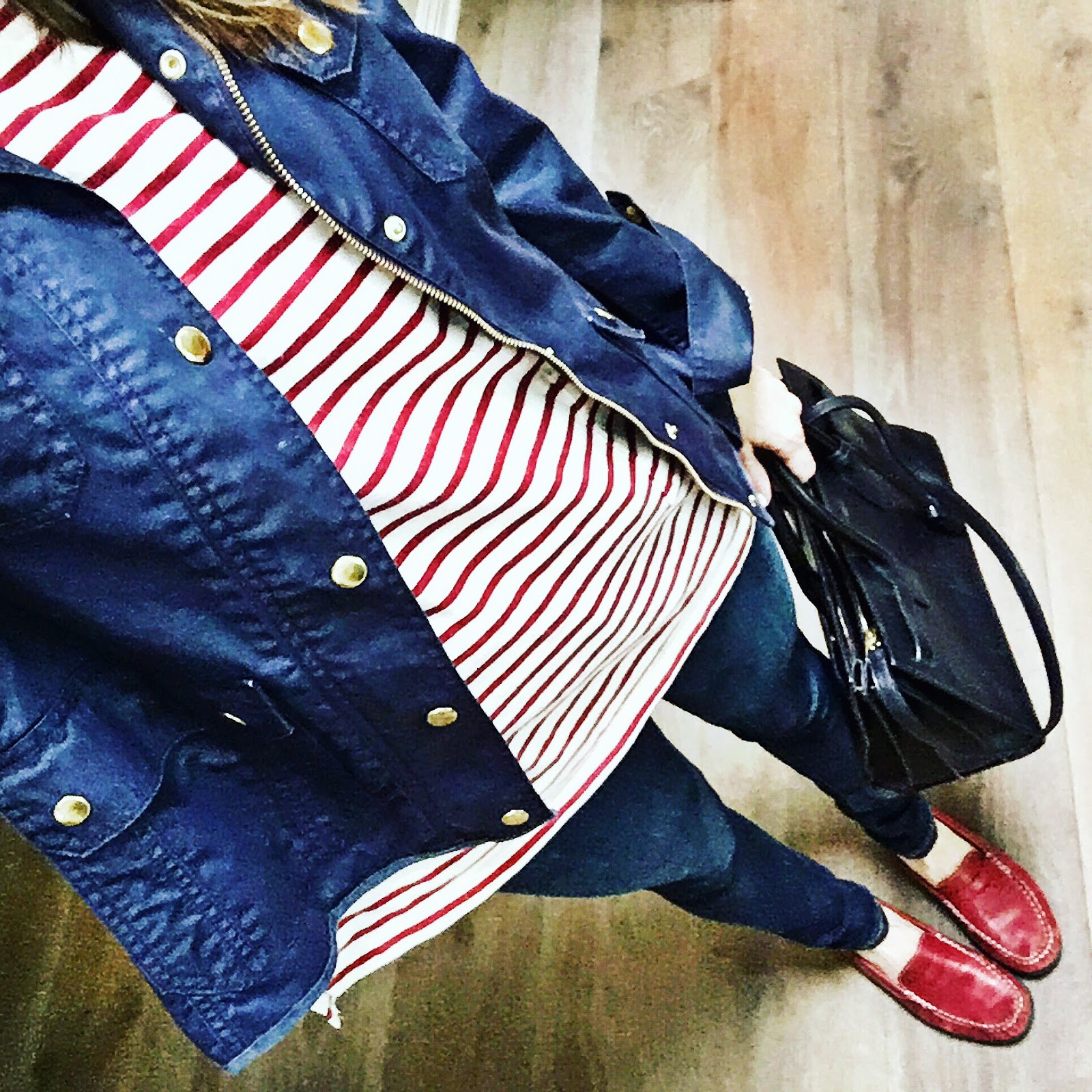 red, white and blue outfit idea